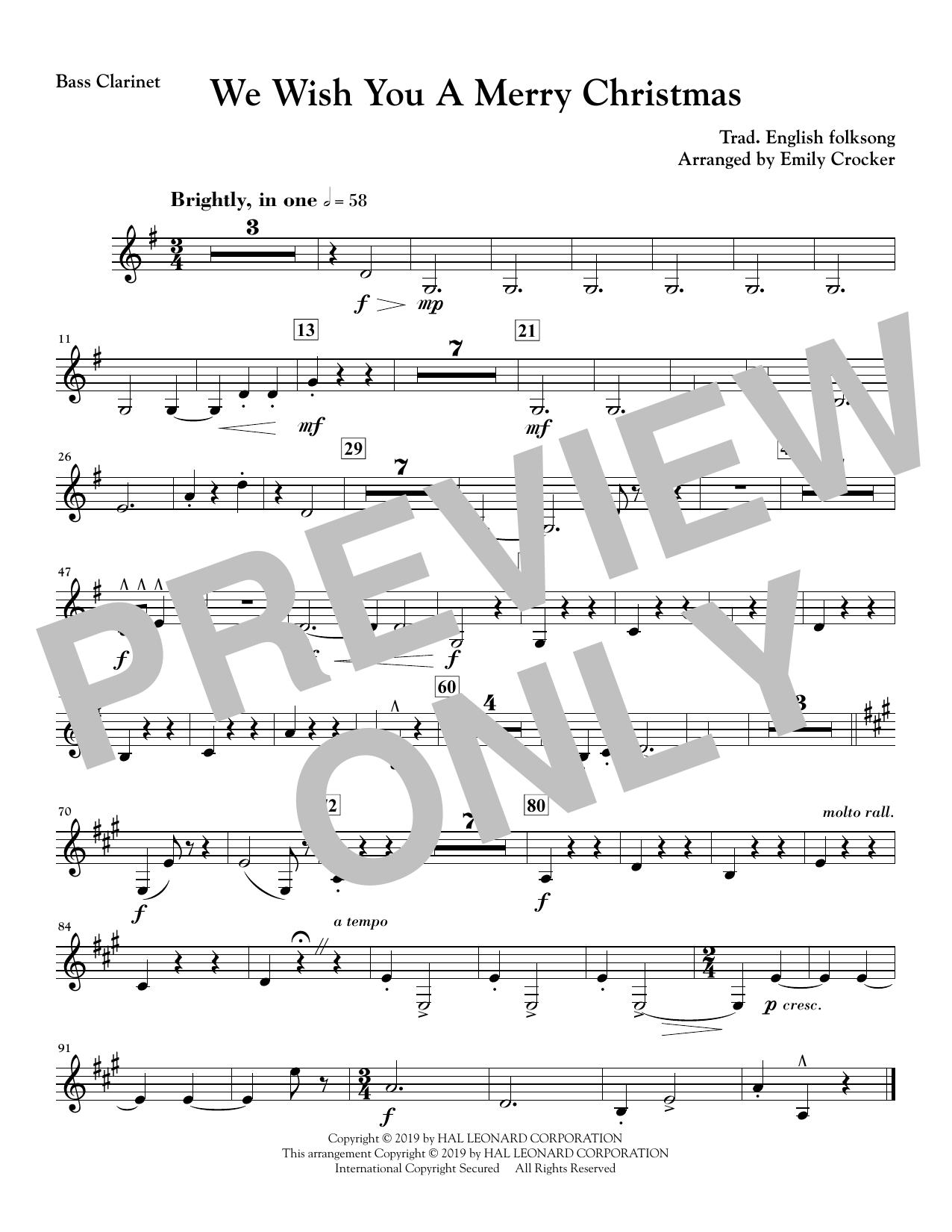We Wish You a Merry Christmas - Bass Clarinet Sheet Music