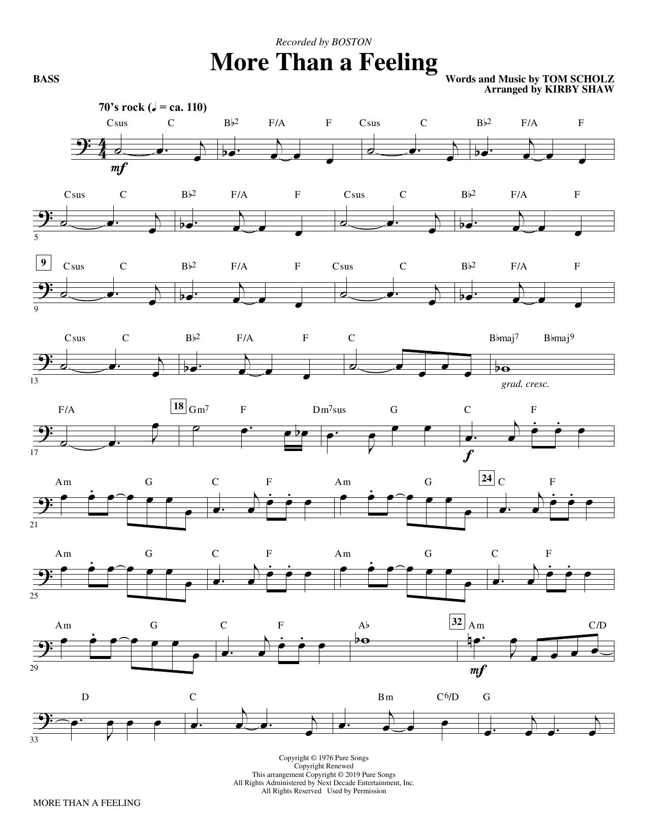 More Than a Feeling (arr. Kirby Shaw) - Bass (Choir Instrumental Pak)