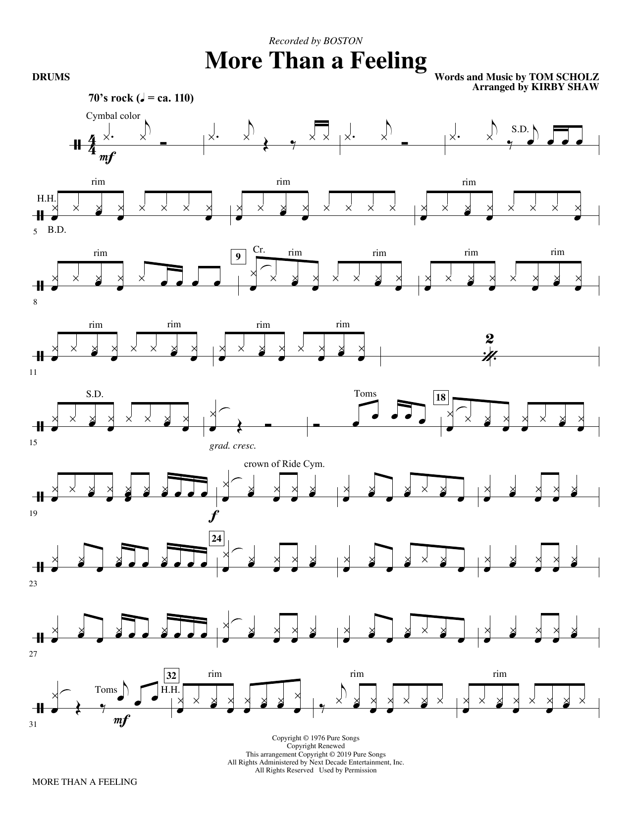 More Than a Feeling (arr. Kirby Shaw) - Drums (Choir Instrumental Pak)