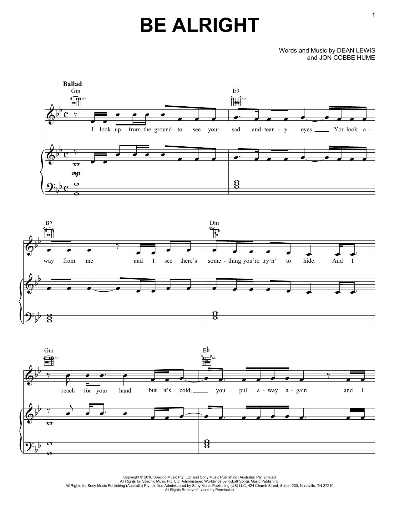 Dean Lewis Sheet Music | Sheet music, Piano music, Piano ...