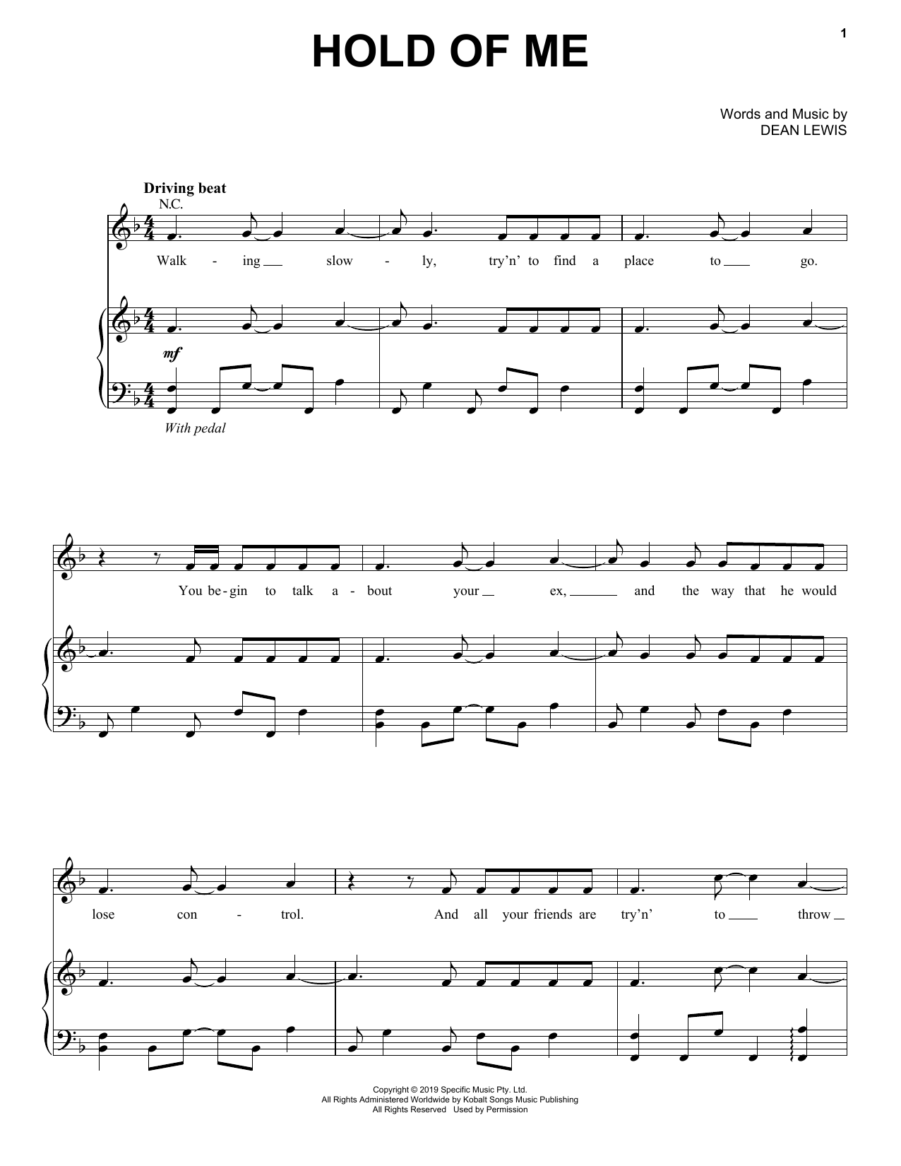Hold Of Me (Piano, Vocal & Guitar (Right-Hand Melody))