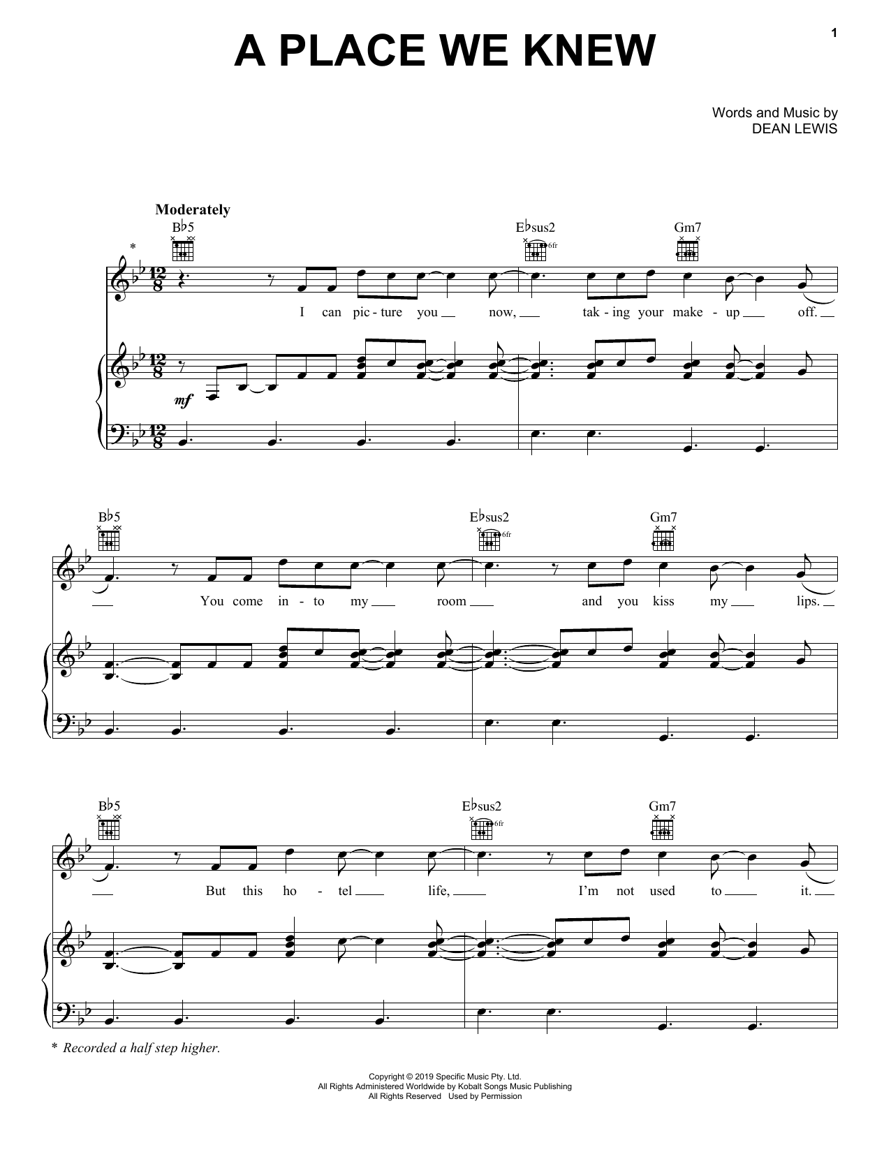 A Place We Knew (Piano, Vocal & Guitar (Right-Hand Melody))