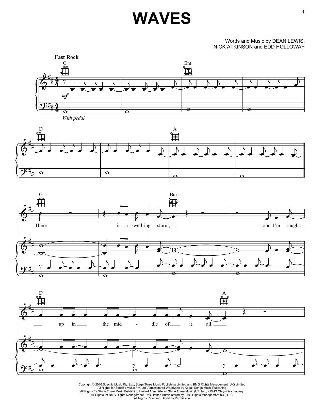 Waves (Piano, Vocal & Guitar (Right-Hand Melody))