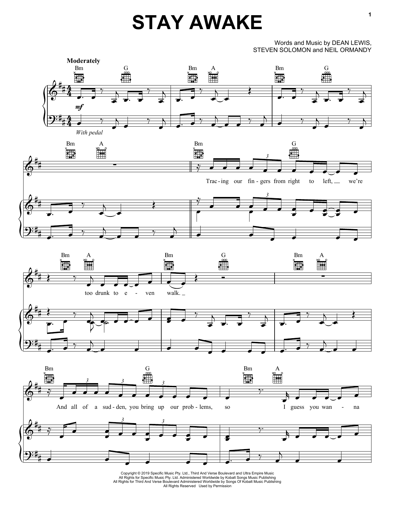 Stay Awake (Piano, Vocal & Guitar (Right-Hand Melody))
