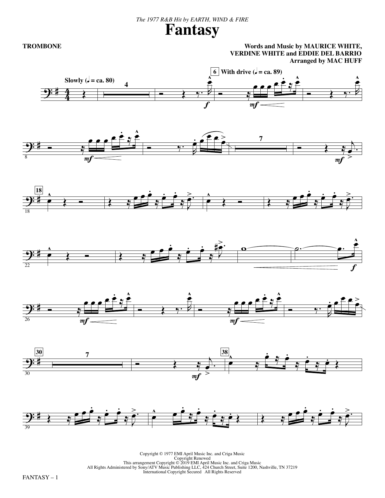 Fantasy (arr. Mac Huff) - Trombone (Choir Instrumental Pak)