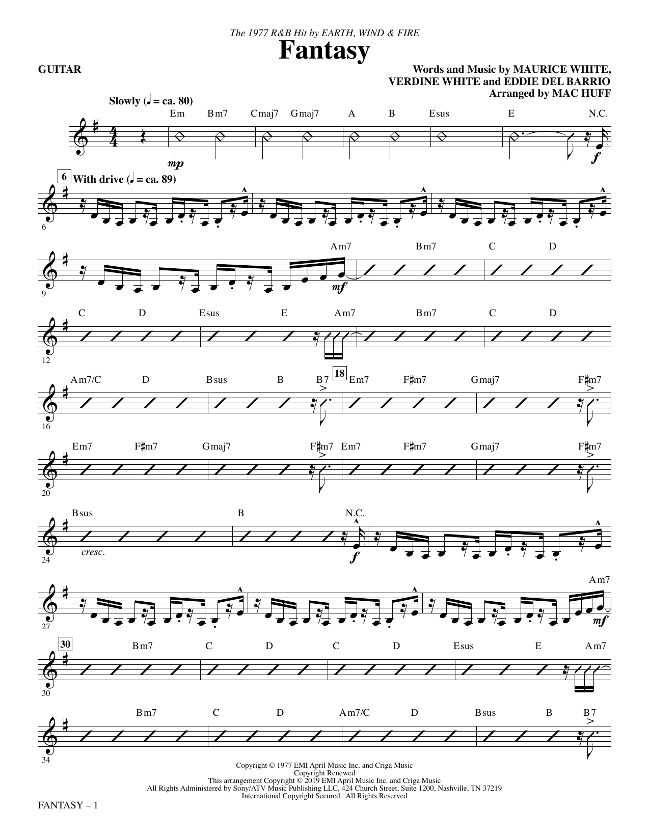 Fantasy (arr. Mac Huff) - Guitar (Choir Instrumental Pak)