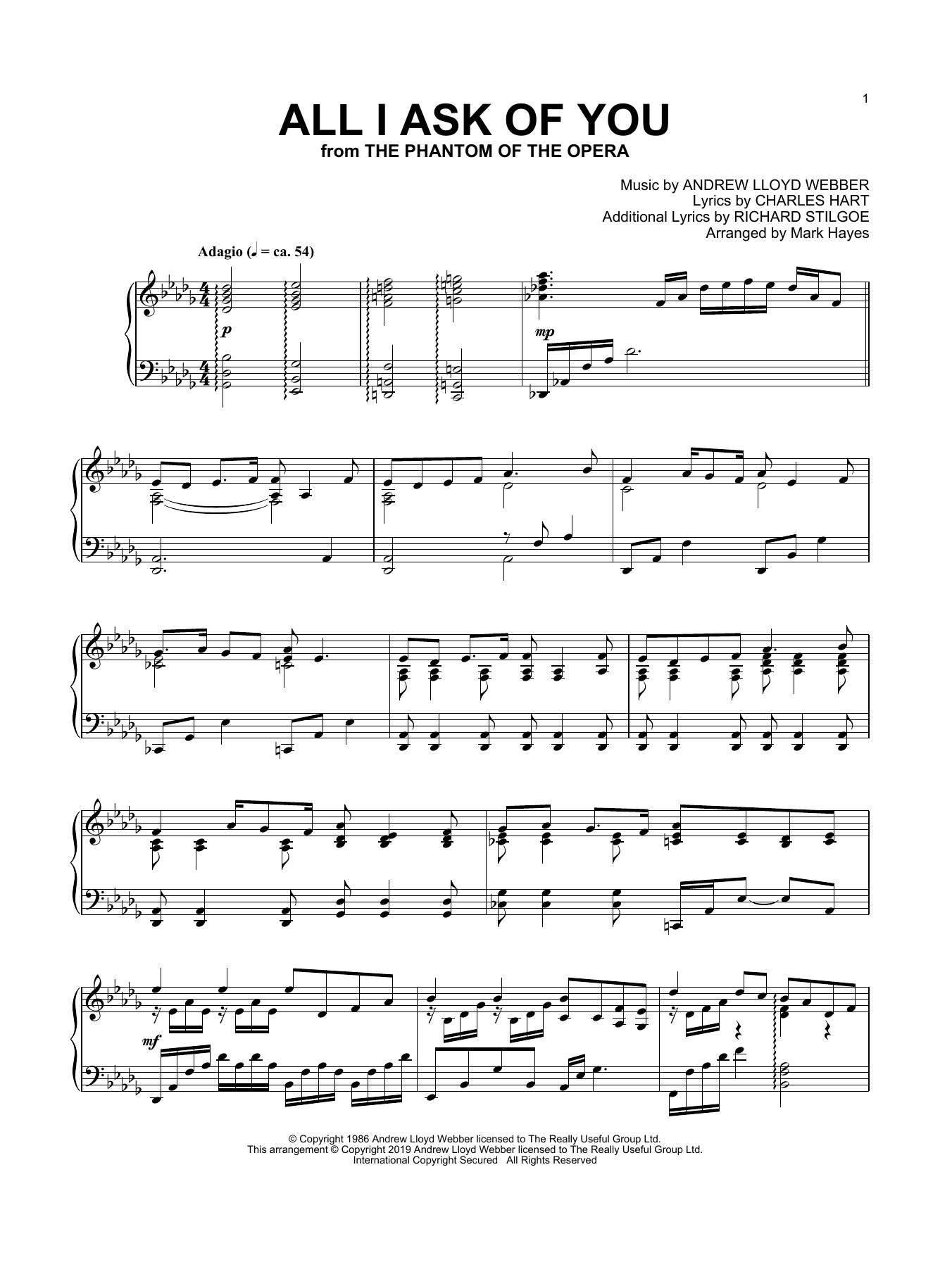 All I Ask Of You (from The Phantom Of The Opera) (arr. Mark Hayes) (Piano Solo)
