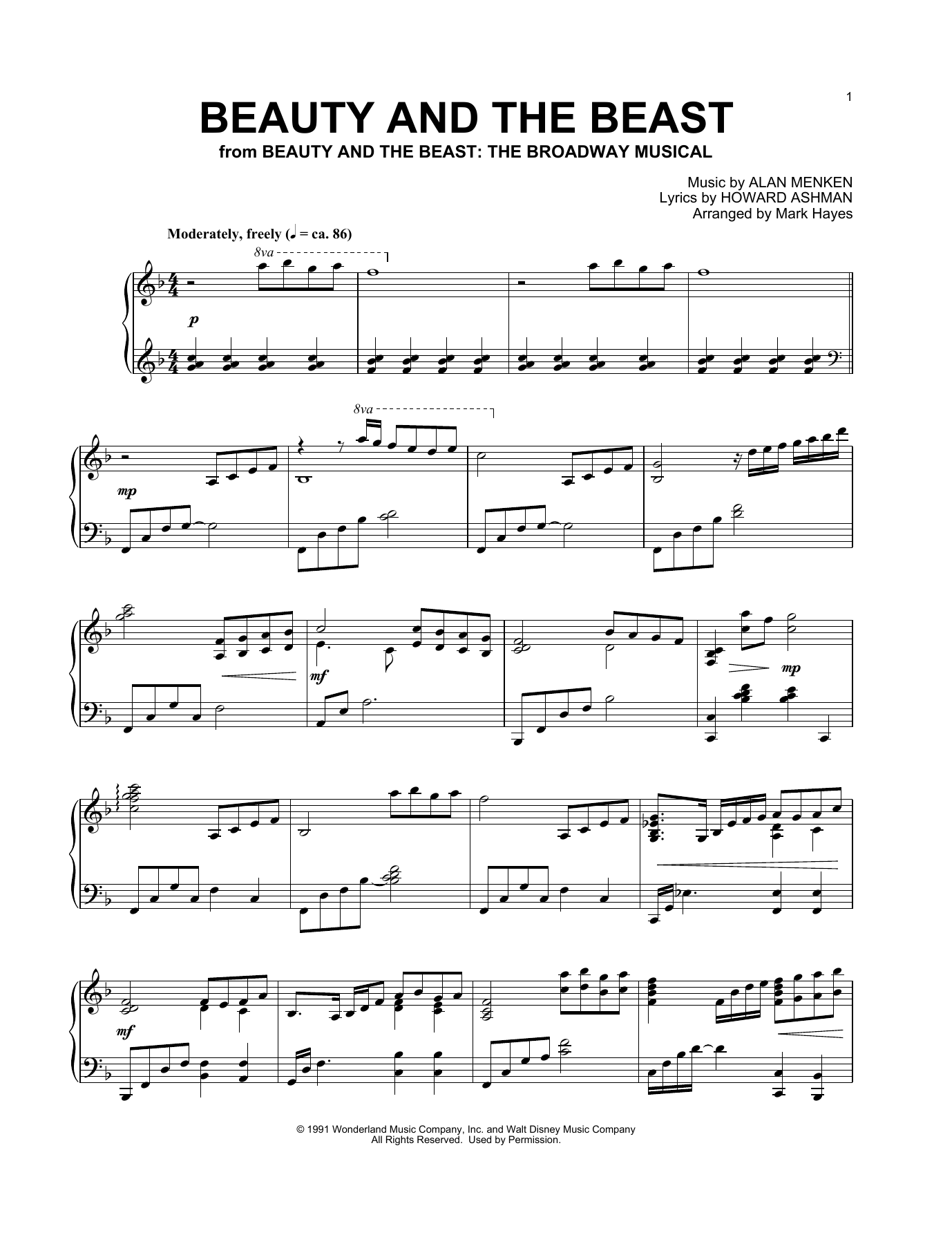 Beauty And The Beast (arr. Mark Hayes) (Piano Solo)