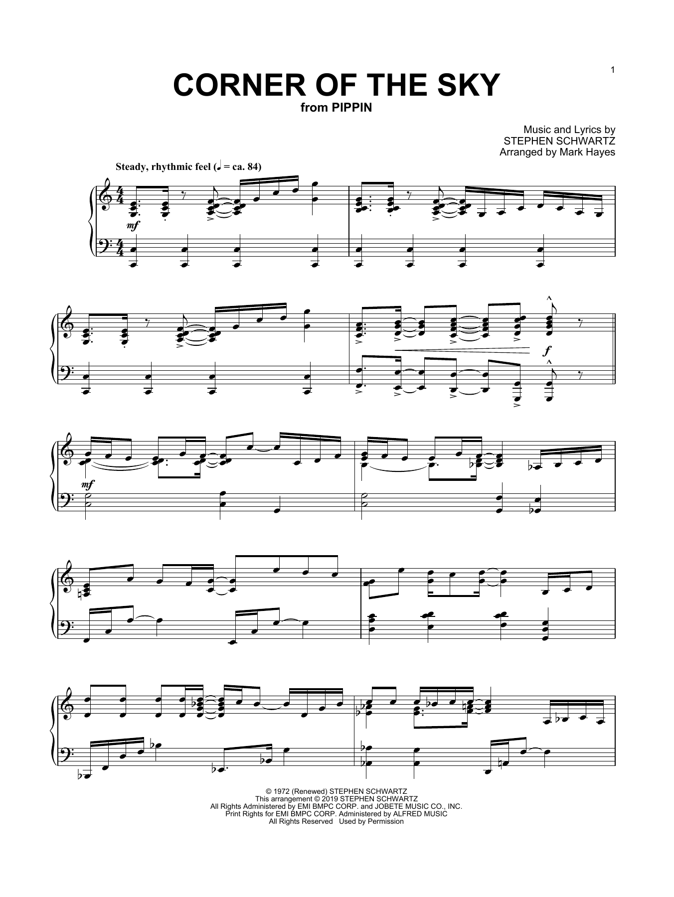 Corner Of The Sky (from Pippin) (arr. Mark Hayes) (Piano Solo)