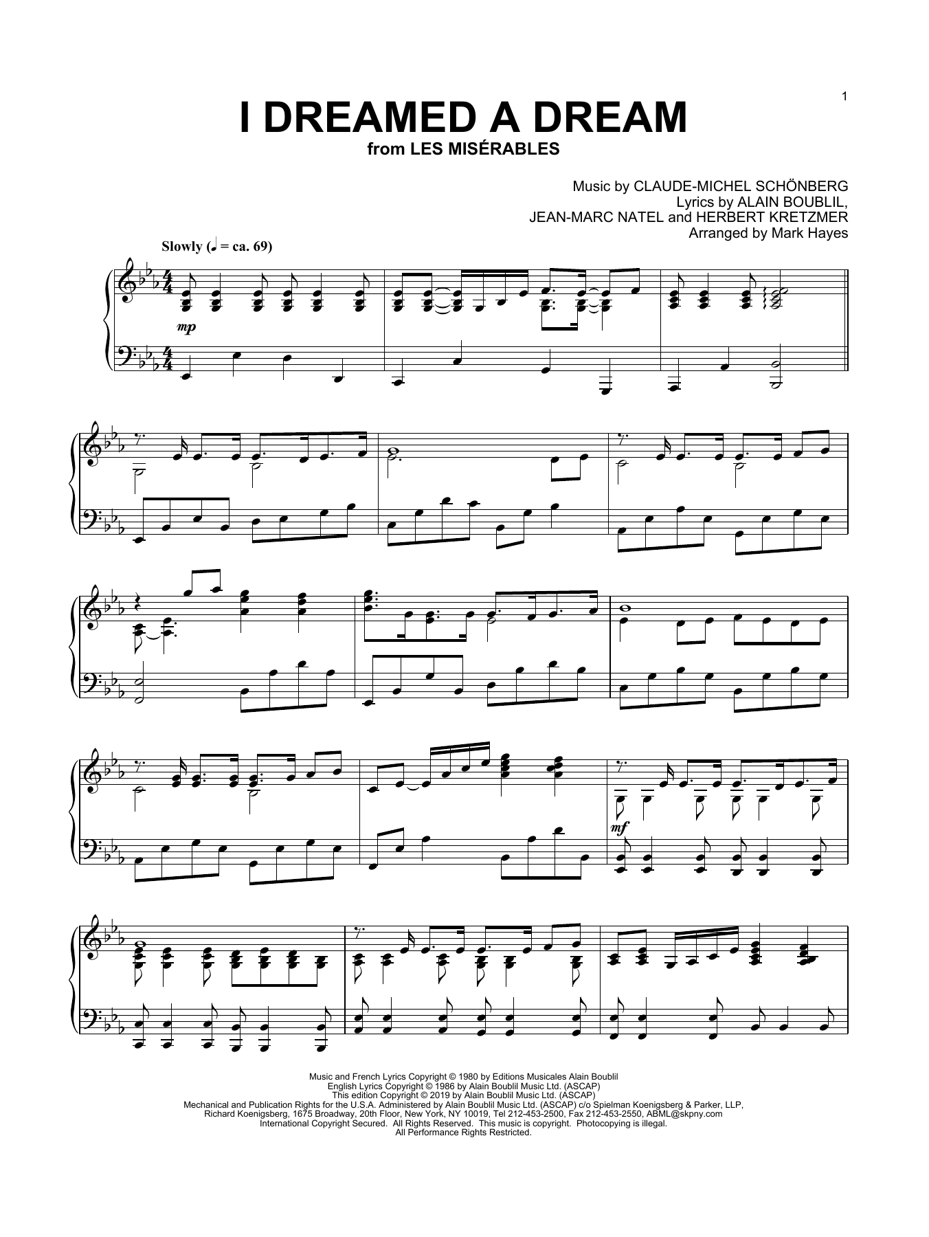 I Dreamed A Dream (from Les Miserables) (arr. Mark Hayes) (Piano Solo)
