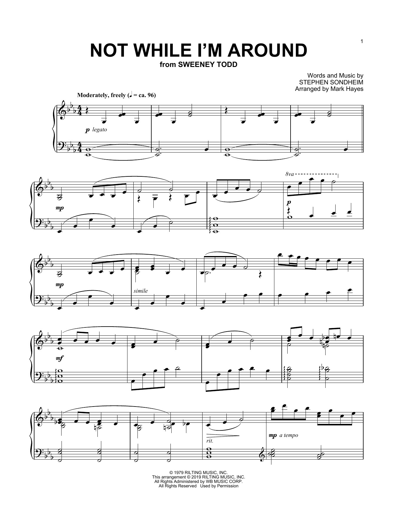 Not While I'm Around (arr. Mark Hayes) (Piano Solo)
