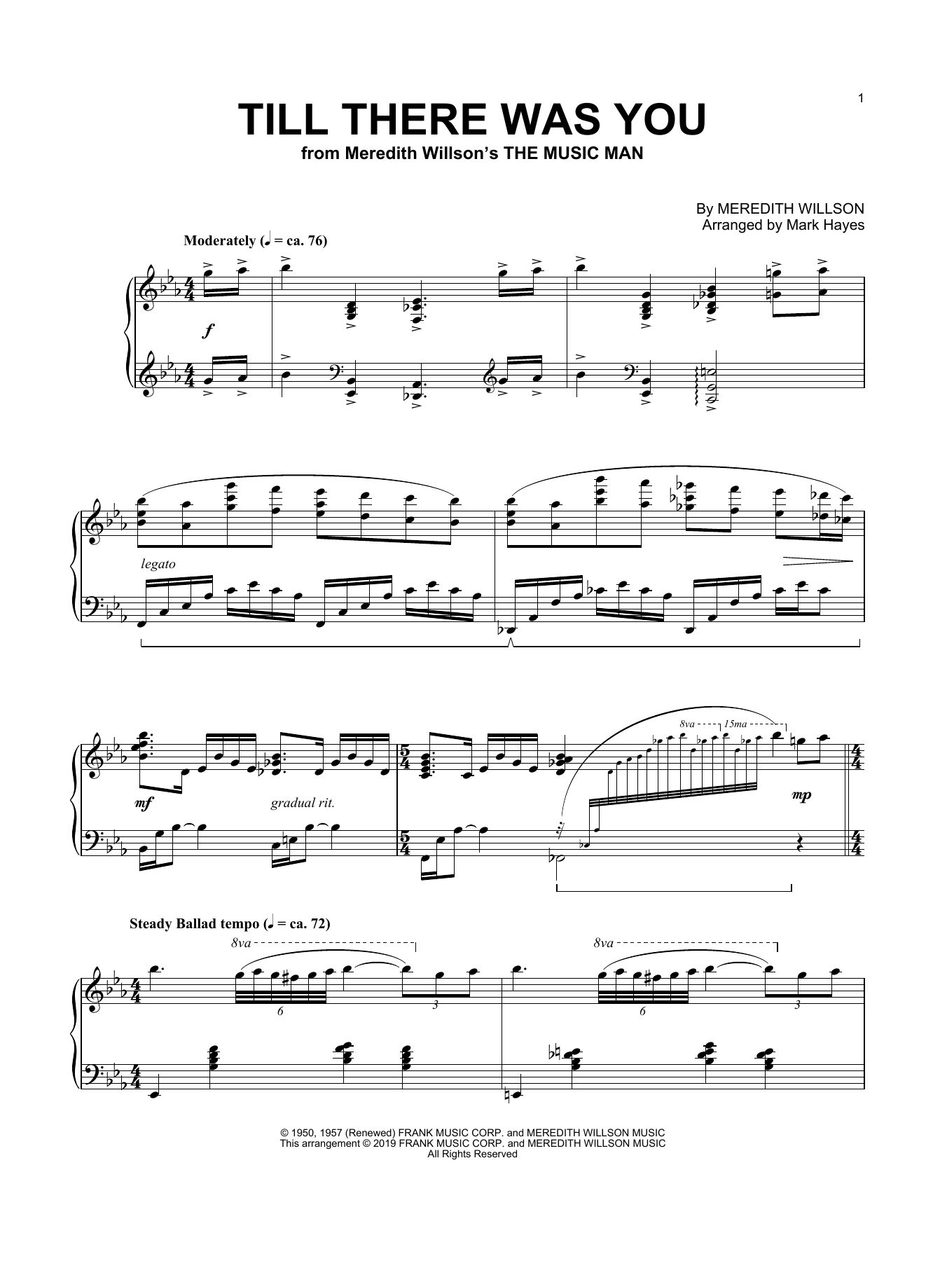 Till There Was You (arr. Mark Hayes) (Piano Solo)