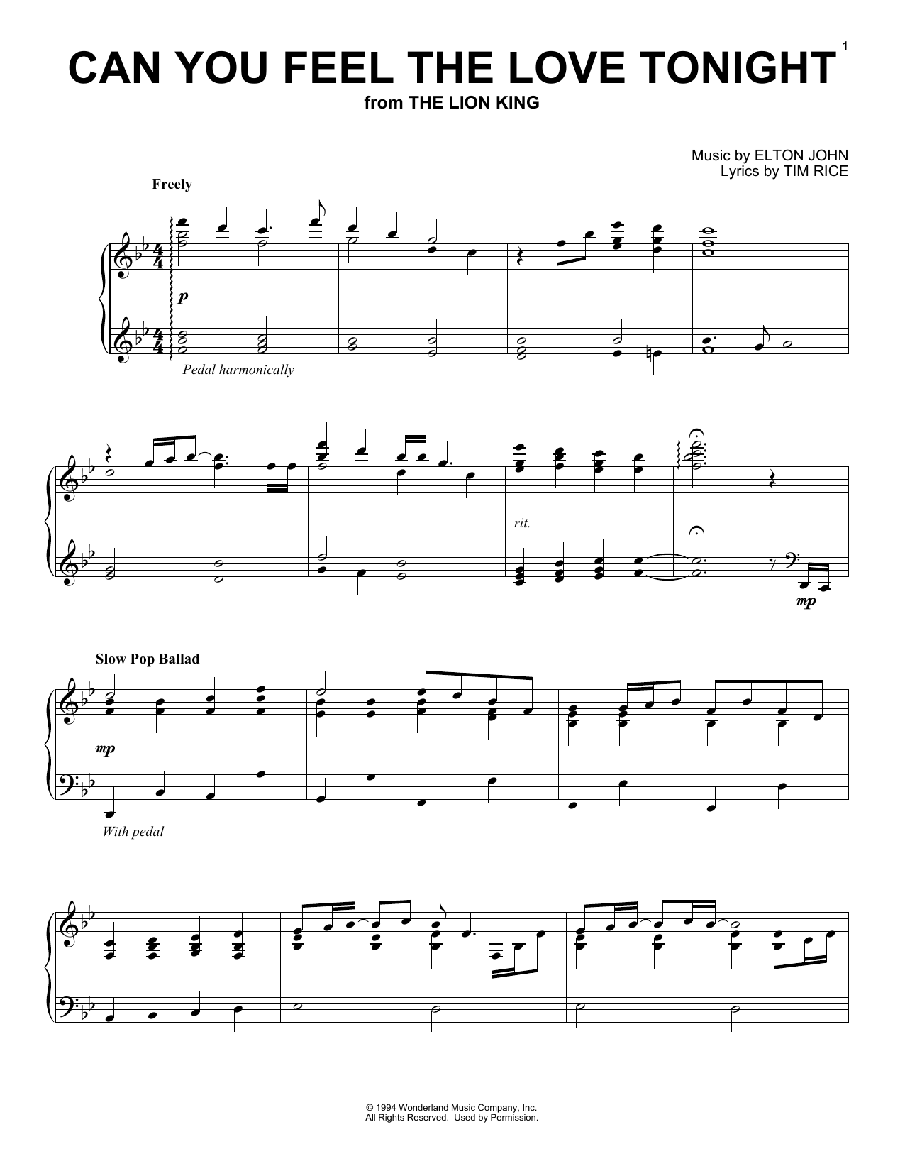 Can You Feel The Love Tonight (from The Lion King) (Piano Solo)