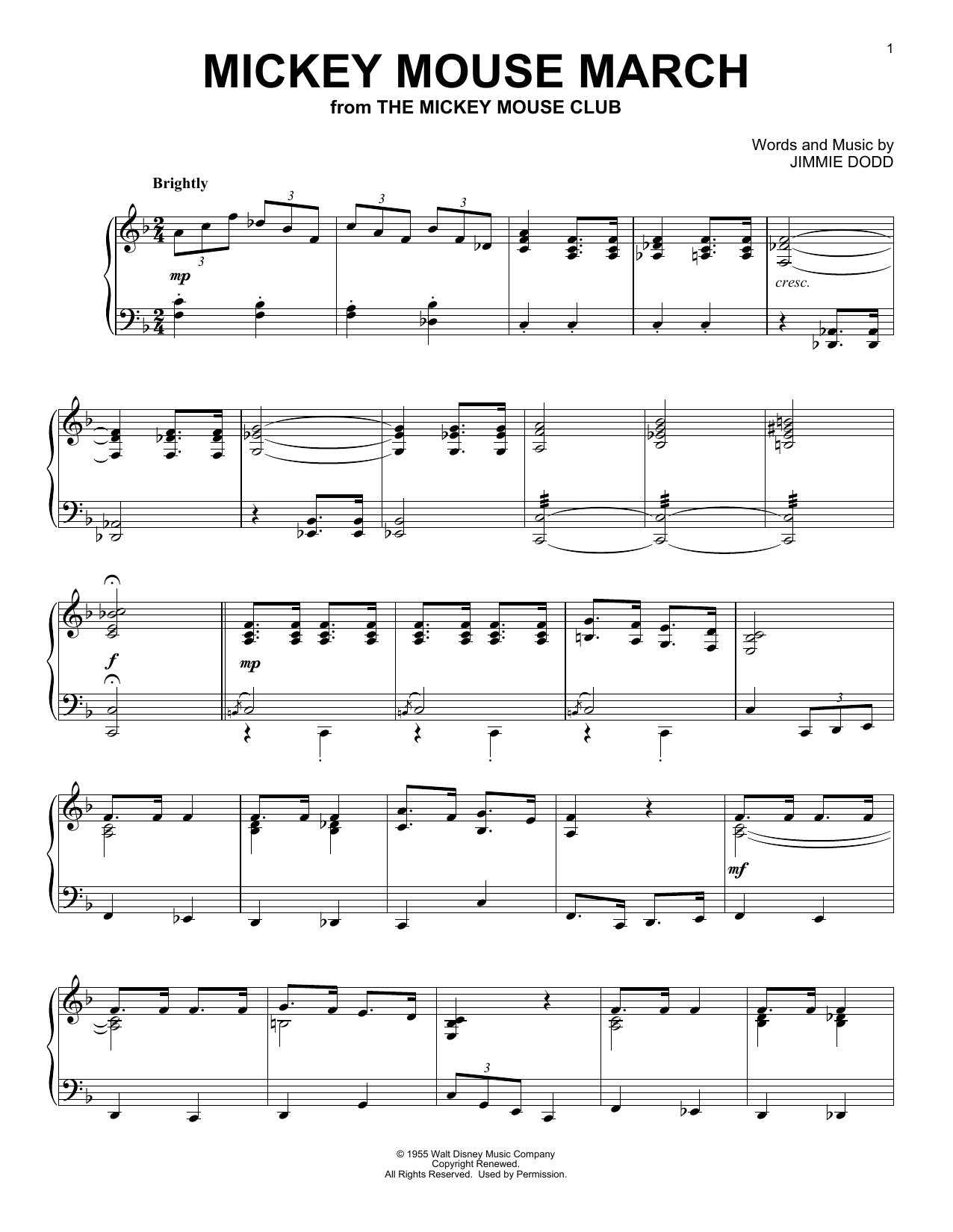 Mickey Mouse March (Piano Solo)