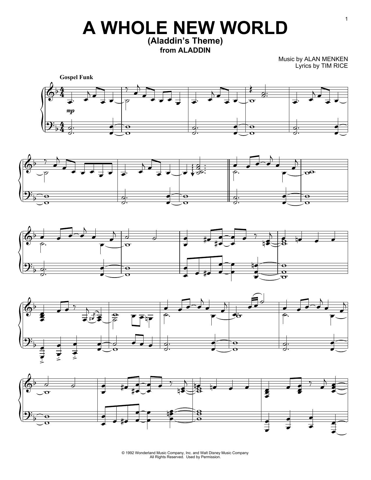 A Whole New World (from Aladdin) (Piano Solo)