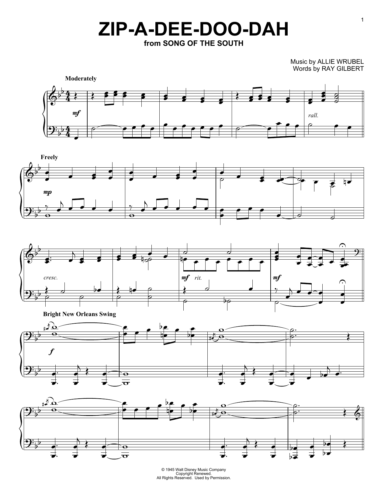 Zip-A-Dee-Doo-Dah (Piano Solo)