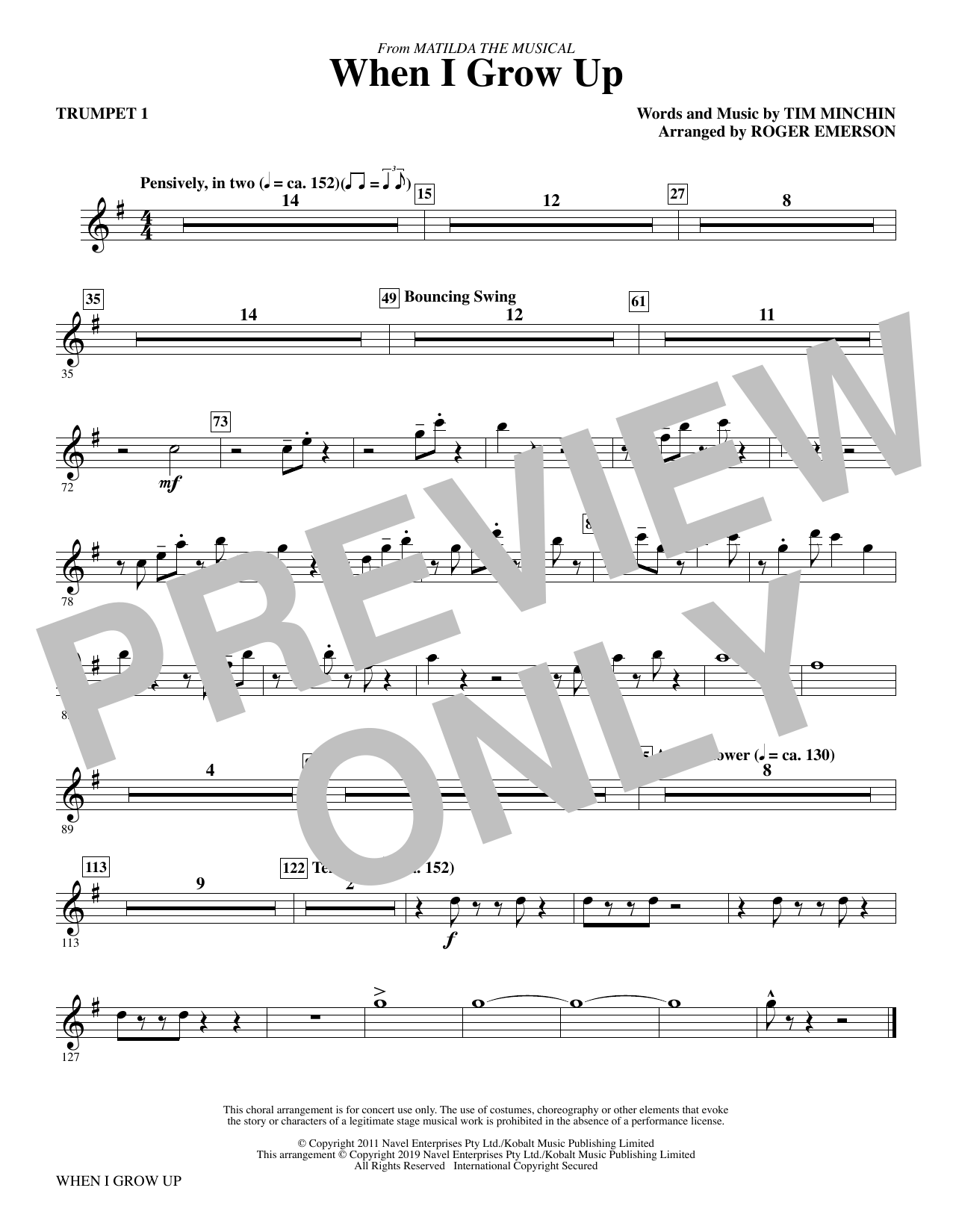 When I Grow Up (from Matilda: The Musical) (arr. Roger Emerson) - Trumpet 1 (Choir Instrumental Pak)