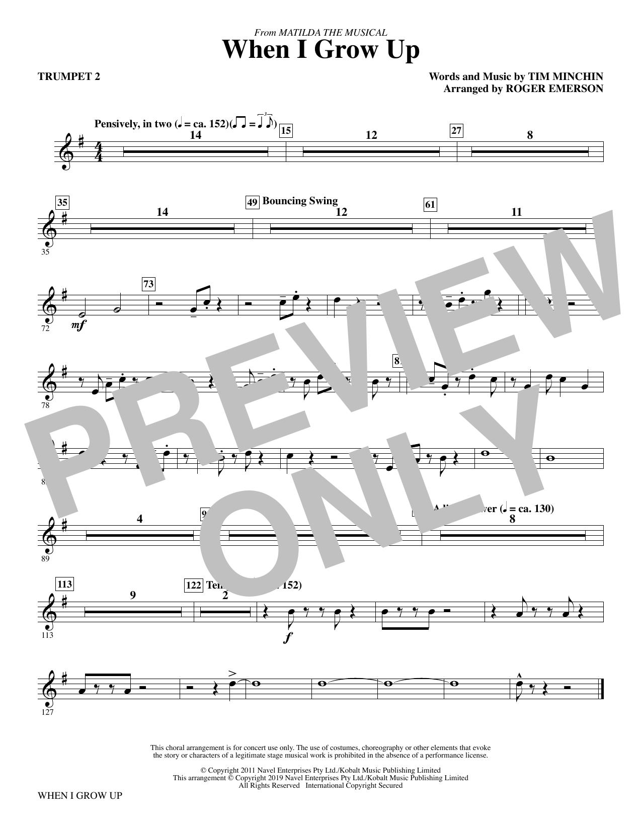 When I Grow Up (from Matilda: The Musical) (arr. Roger Emerson) - Trumpet 2 (Choir Instrumental Pak)