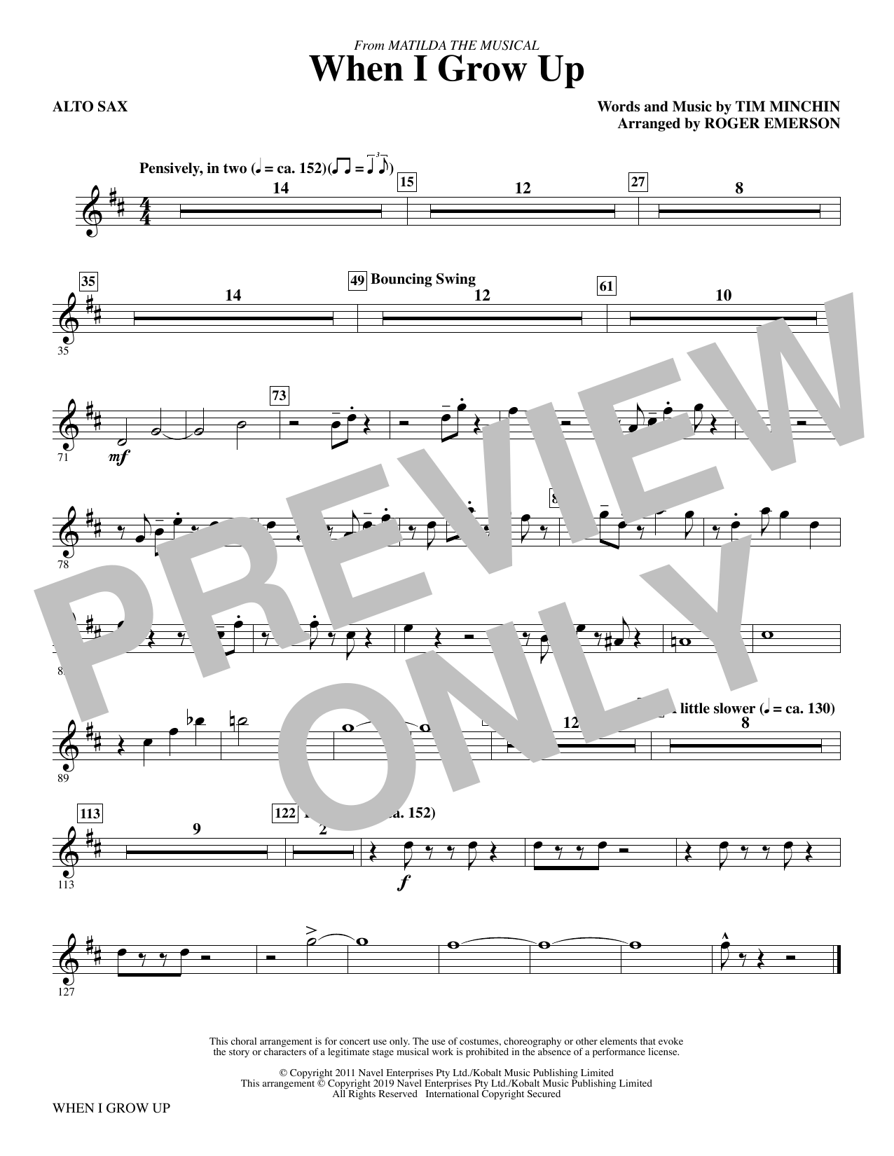 When I Grow Up (from Matilda: The Musical) (arr. Roger Emerson) - Alto Sax (Choir Instrumental Pak)