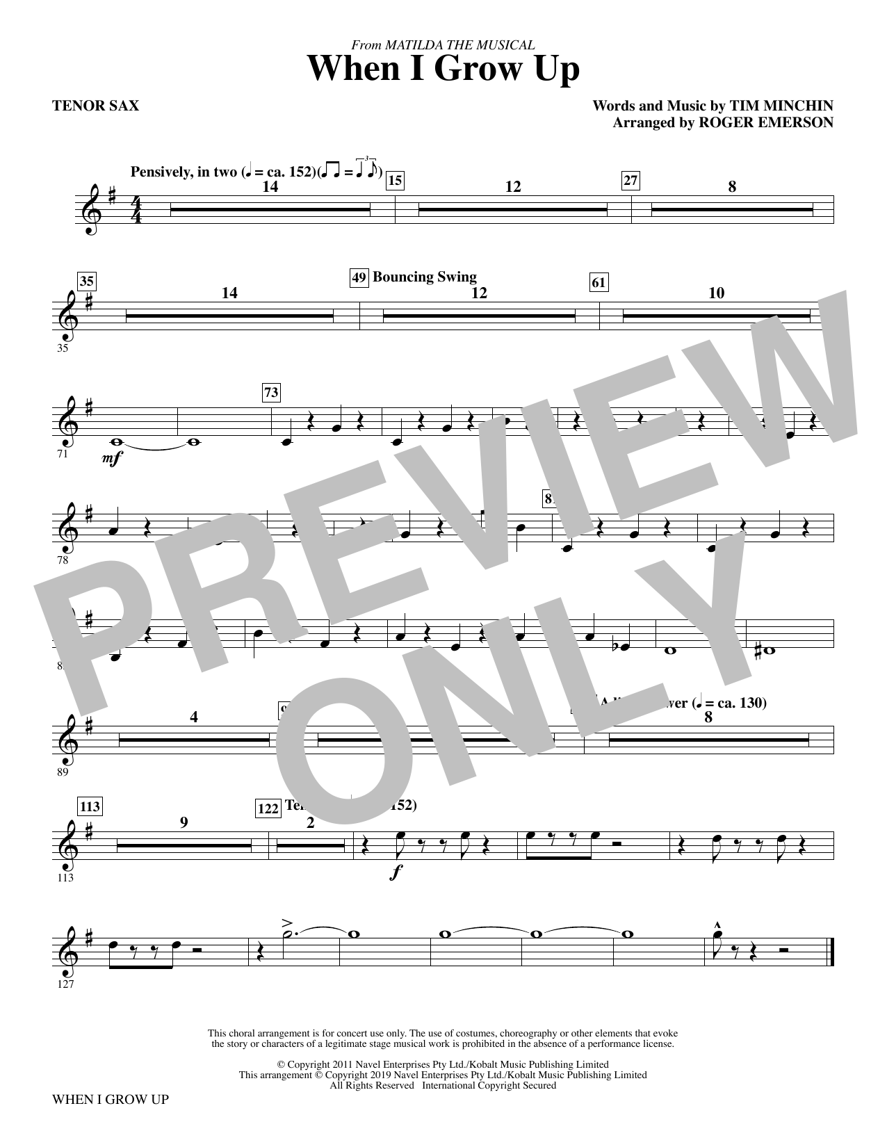 When I Grow Up (from Matilda: The Musical) (arr. Roger Emerson) - Tenor Saxophone (Choir Instrumental Pak)