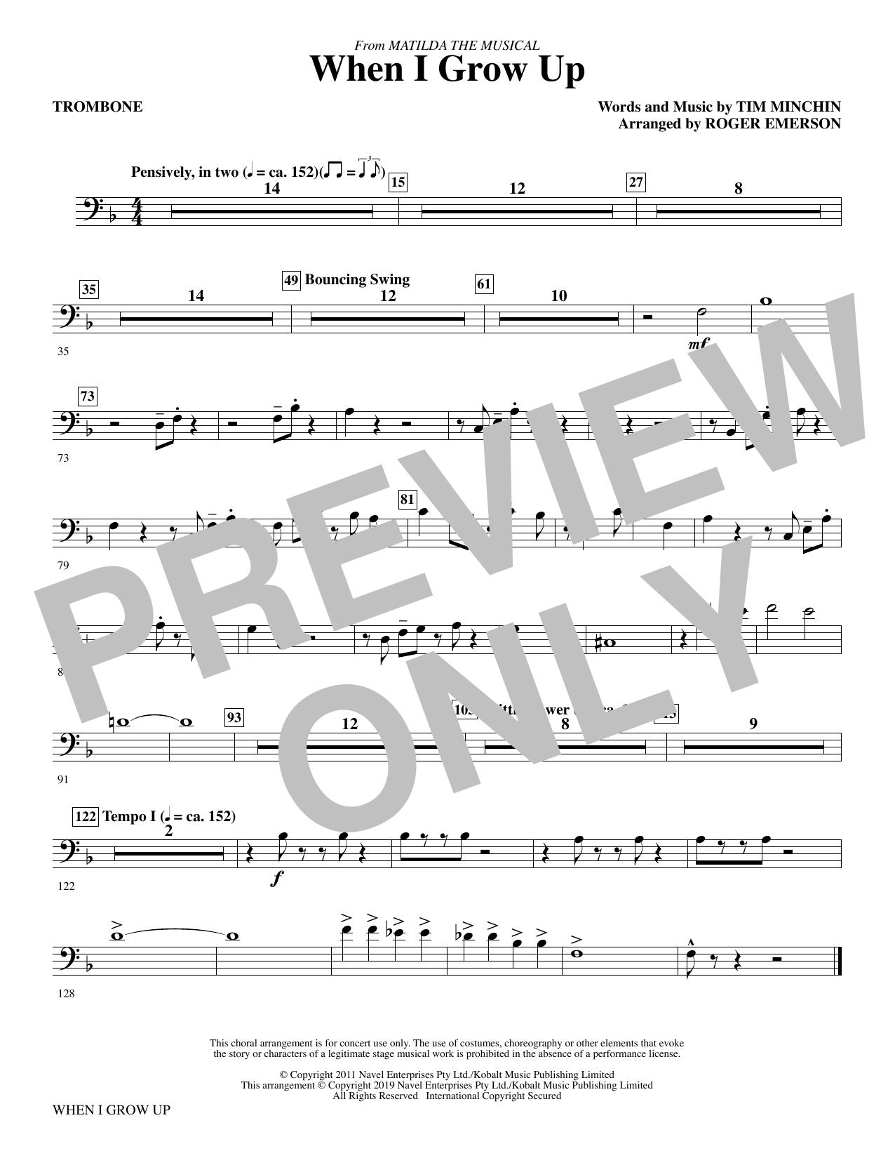 When I Grow Up (from Matilda: The Musical) (arr. Roger Emerson) - Trombone (Choir Instrumental Pak)