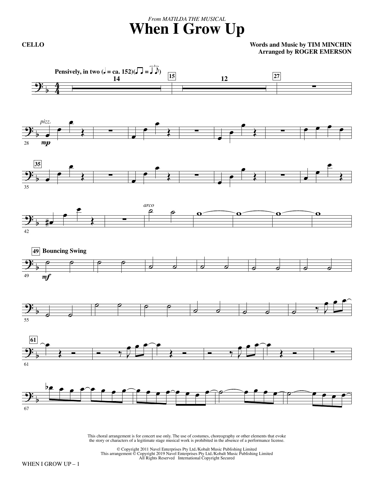 When I Grow Up (from Matilda: The Musical) (arr. Roger Emerson) - Cello (Choir Instrumental Pak)