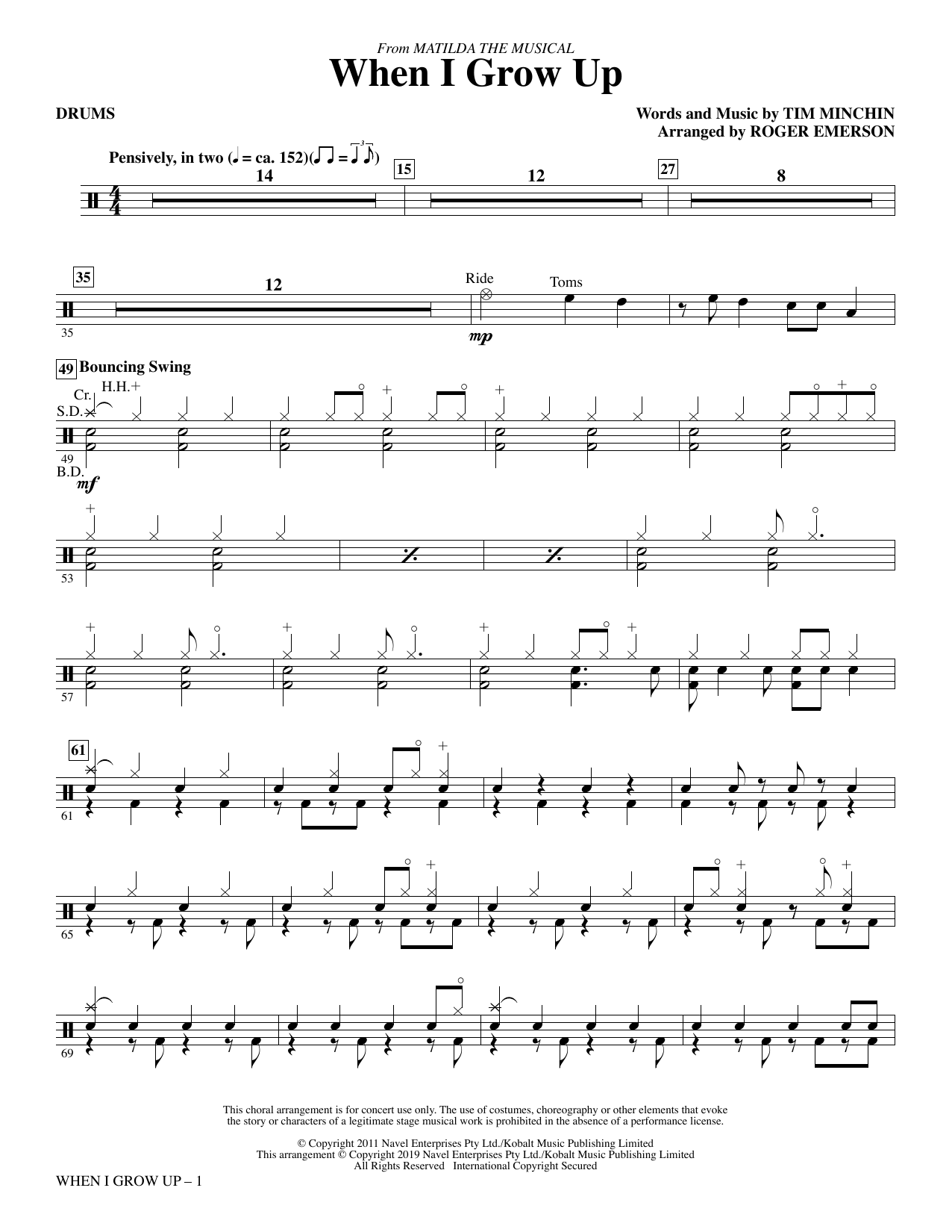 When I Grow Up (from Matilda: The Musical) (arr. Roger Emerson) - Drums (Choir Instrumental Pak)