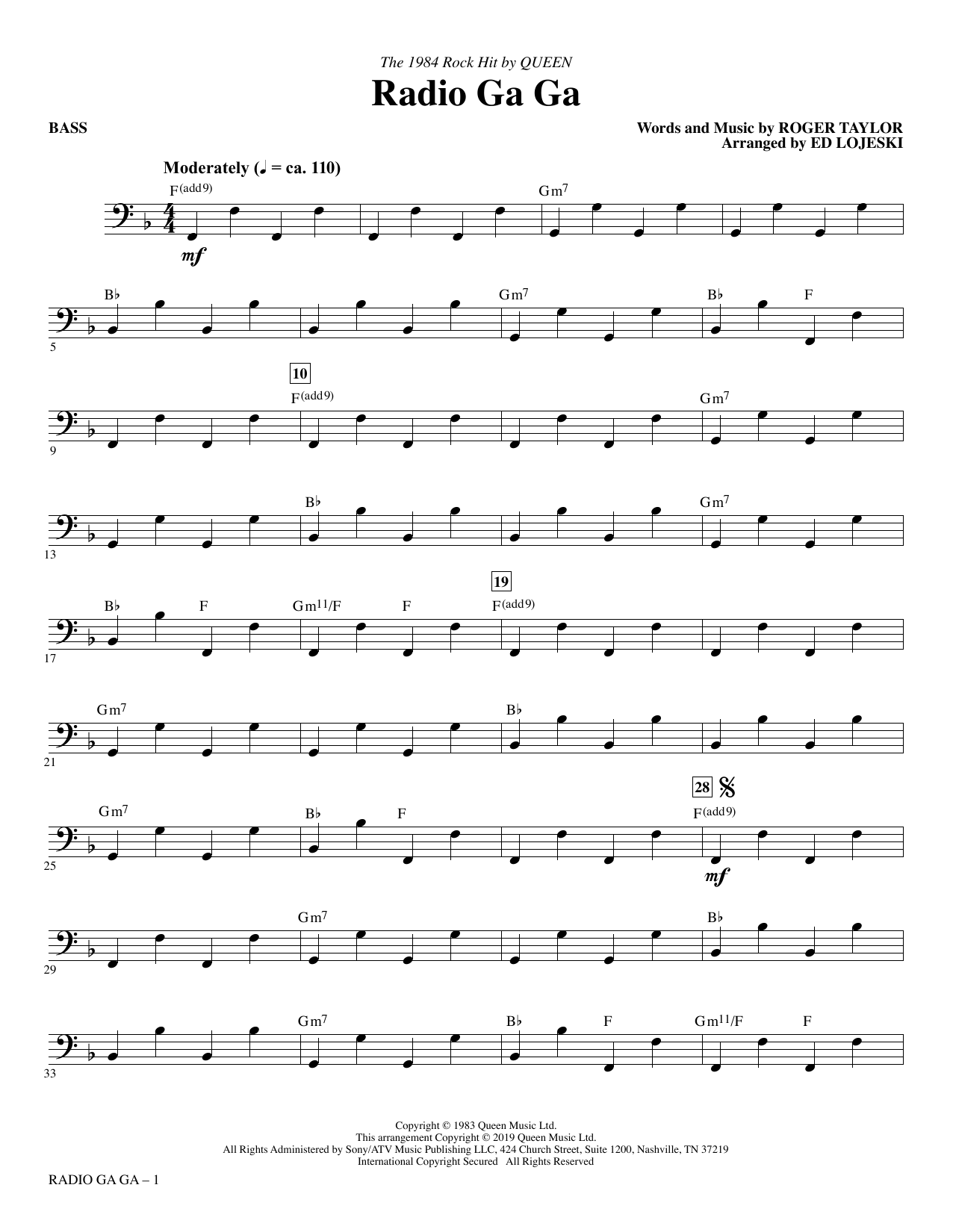 Radio Ga Ga (arr. Ed Lojeski) - Bass (Choir Instrumental Pak)