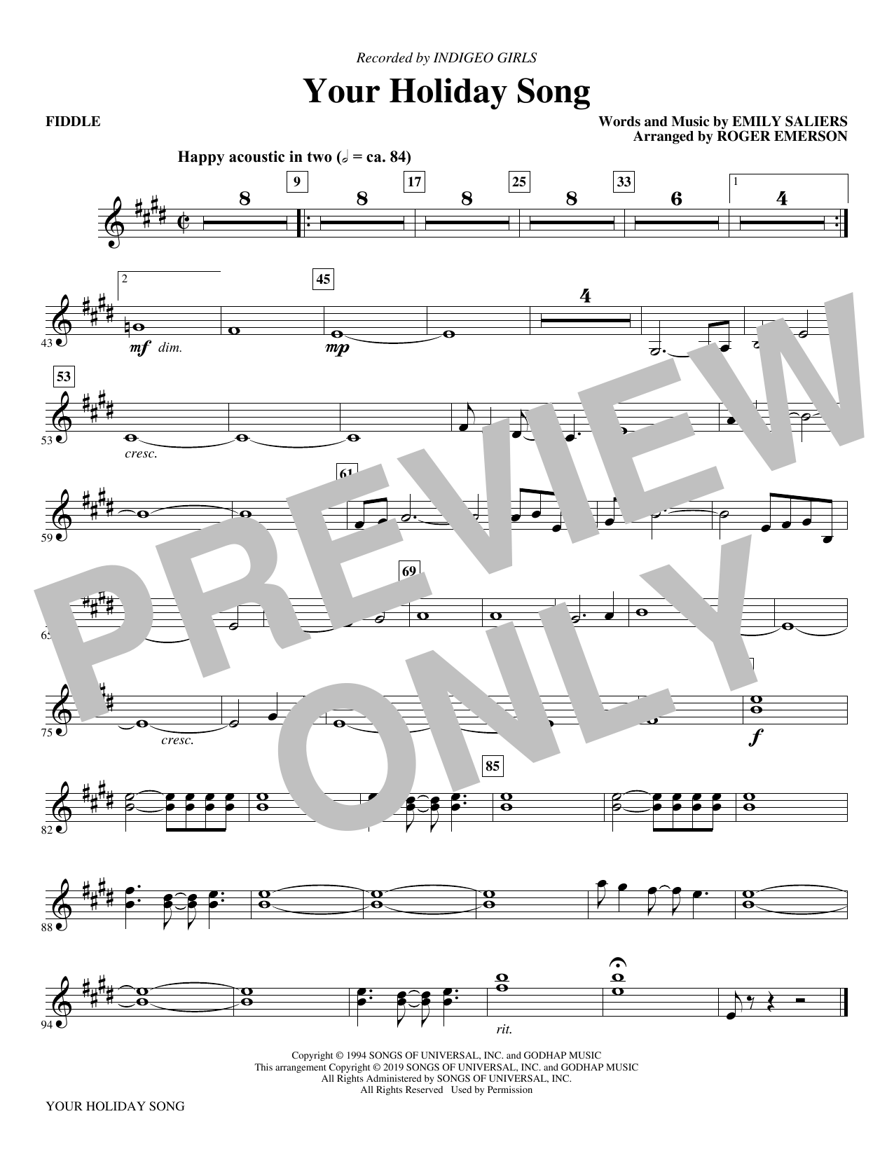 Your Holiday Song (arr. Roger Emerson) - Fiddle (Choir Instrumental Pak)