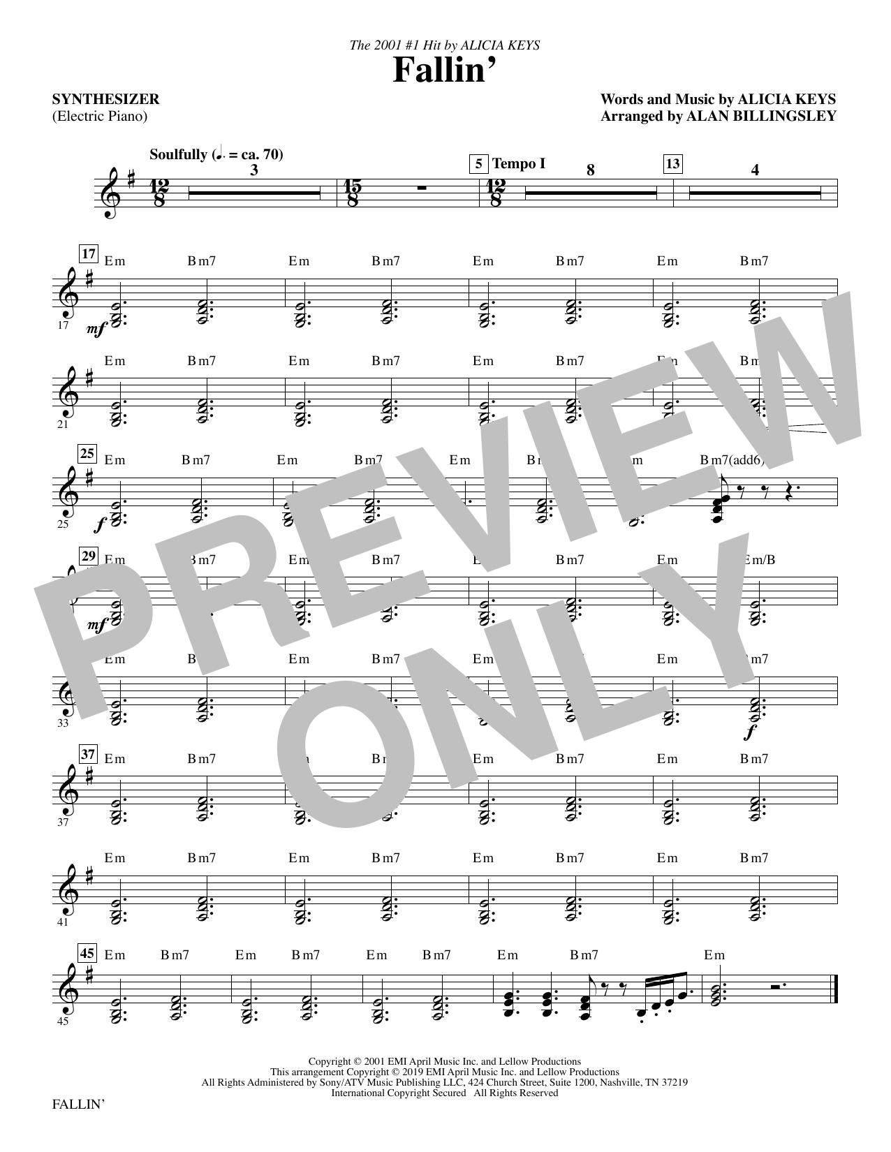 Fallin' (arr. Alan Billingsley) - Synthesizer (Choir Instrumental Pak)