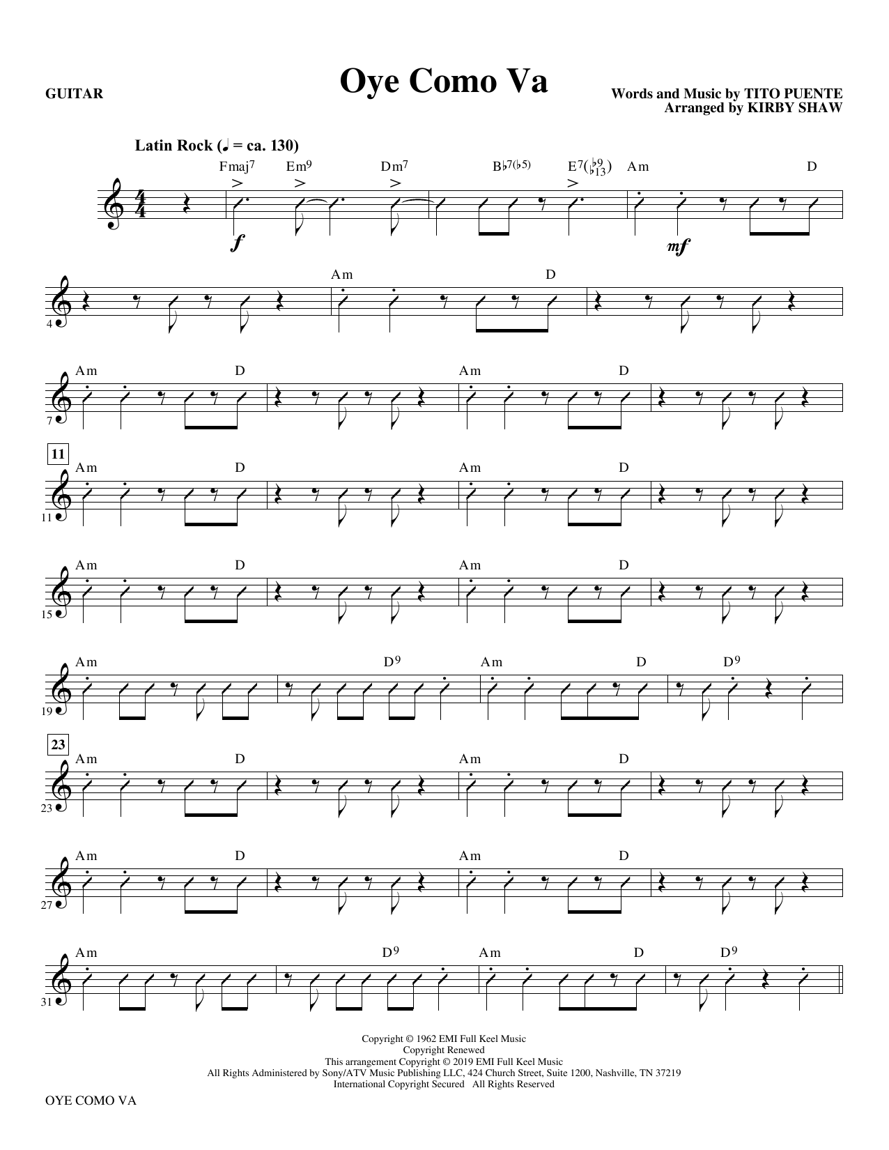 Oye Como Va (arr. Kirby Shaw) - Guitar (Choir Instrumental Pak)