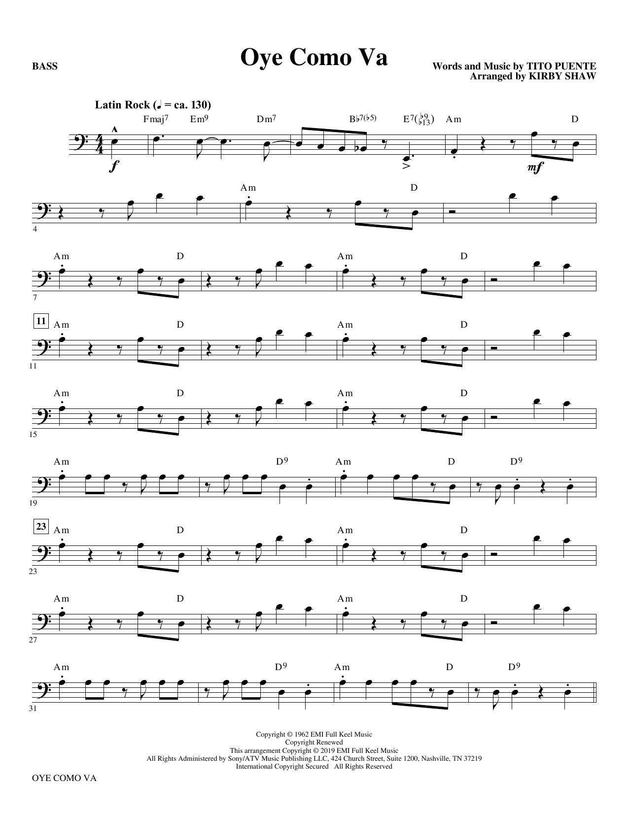 Oye Como Va (arr. Kirby Shaw) - Bass (Choir Instrumental Pak)