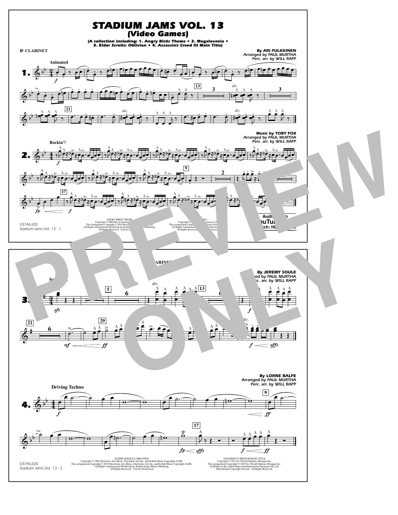 Stadium Jams Volume 13 (Video Games) - Bb Clarinet (Marching Band)
