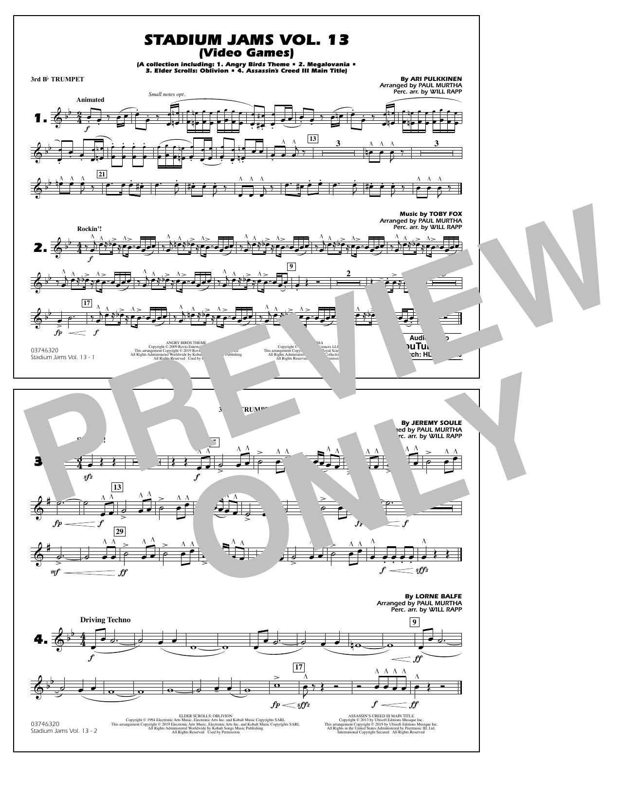 Stadium Jams Volume 13 (Video Games) - 3rd Bb Trumpet (Marching Band)
