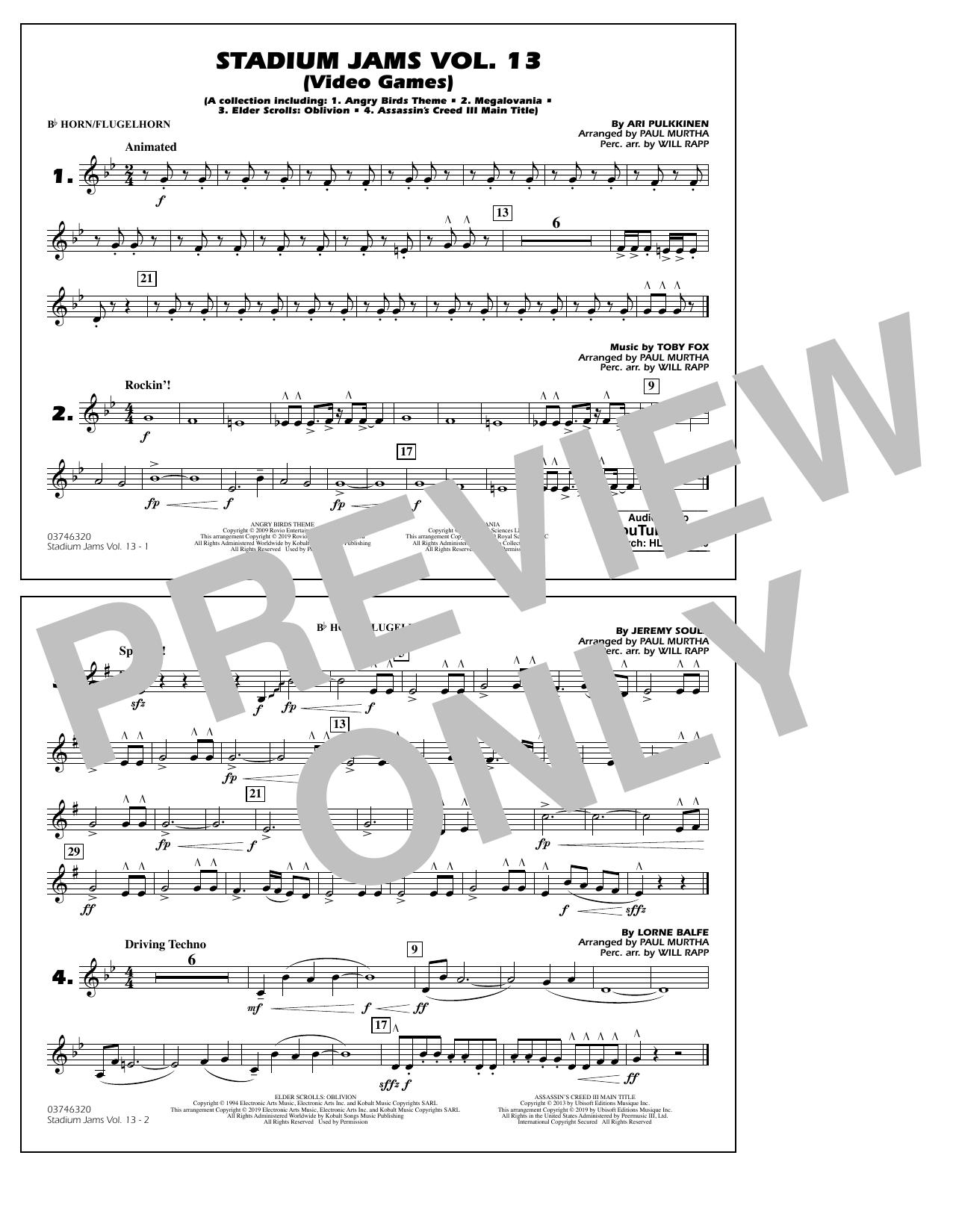 Stadium Jams Volume 13 (Video Games) - Bb Horn/Flugelhorn (Marching Band)
