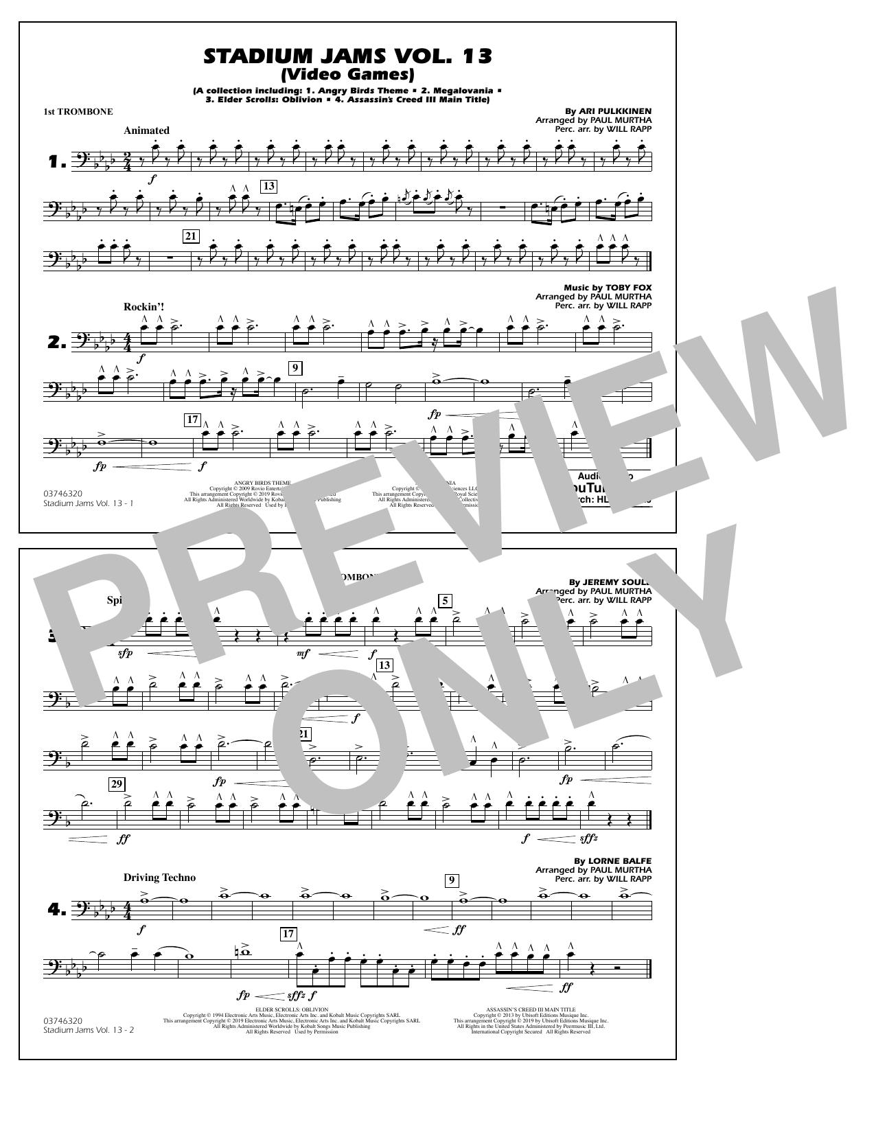 Stadium Jams Volume 13 (Video Games) - 1st Trombone (Marching Band)