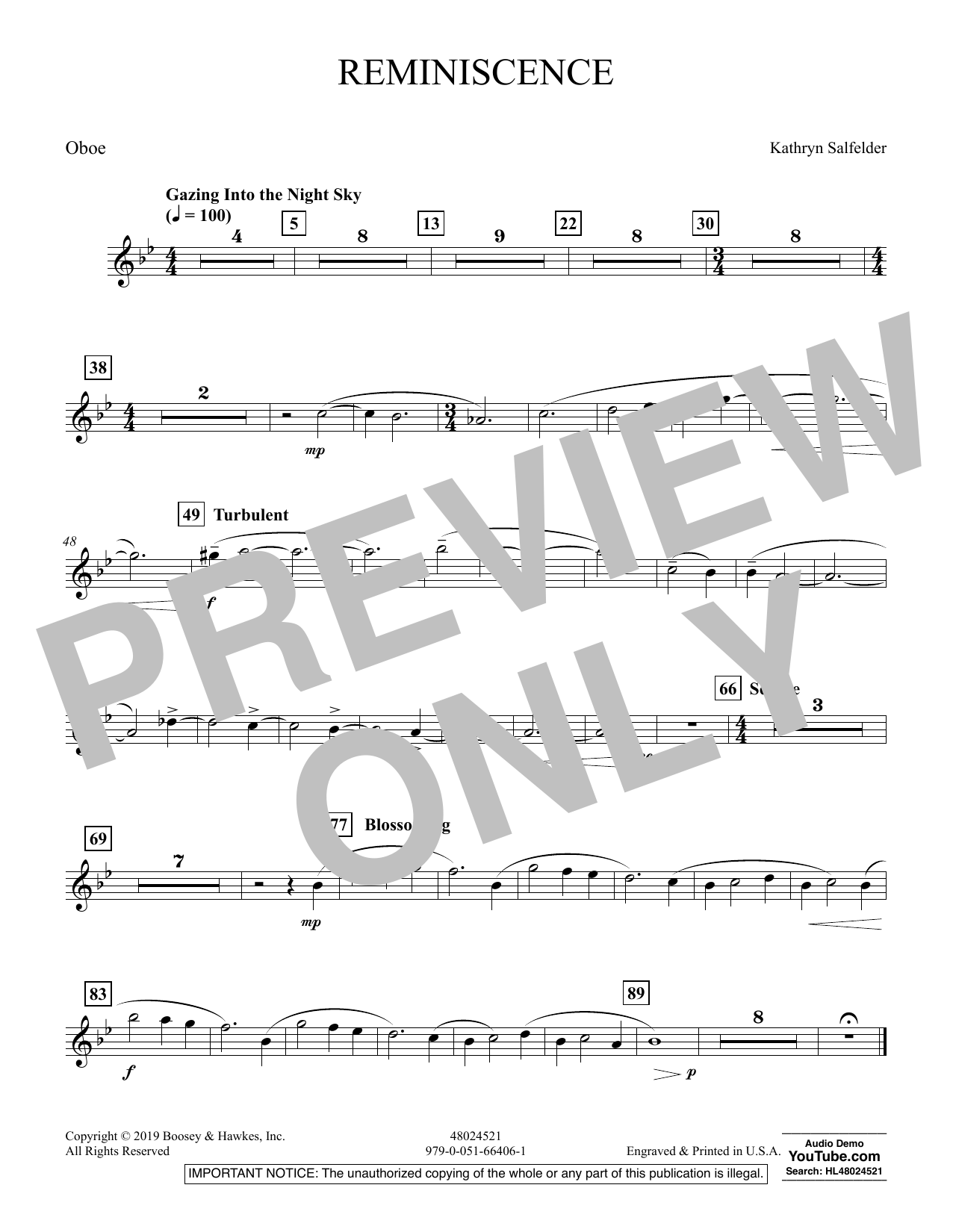 Reminiscence - Oboe (Concert Band)
