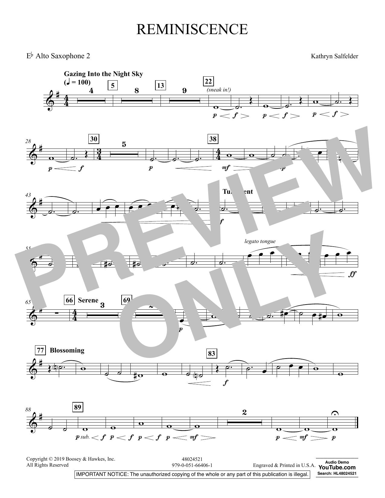 Reminiscence - Eb Alto Saxophone 2 (Concert Band)