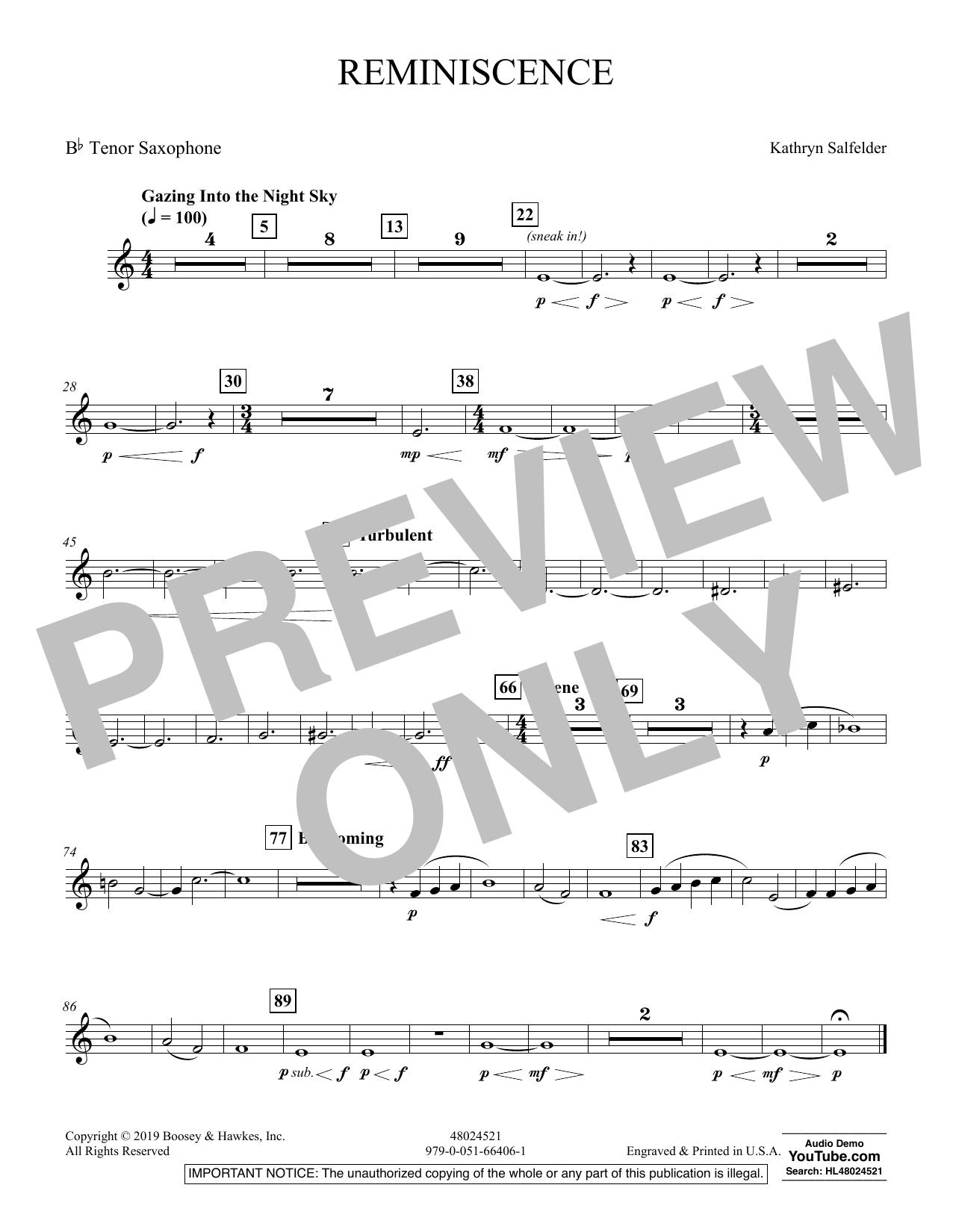 Reminiscence - Bb Tenor Saxophone (Concert Band)