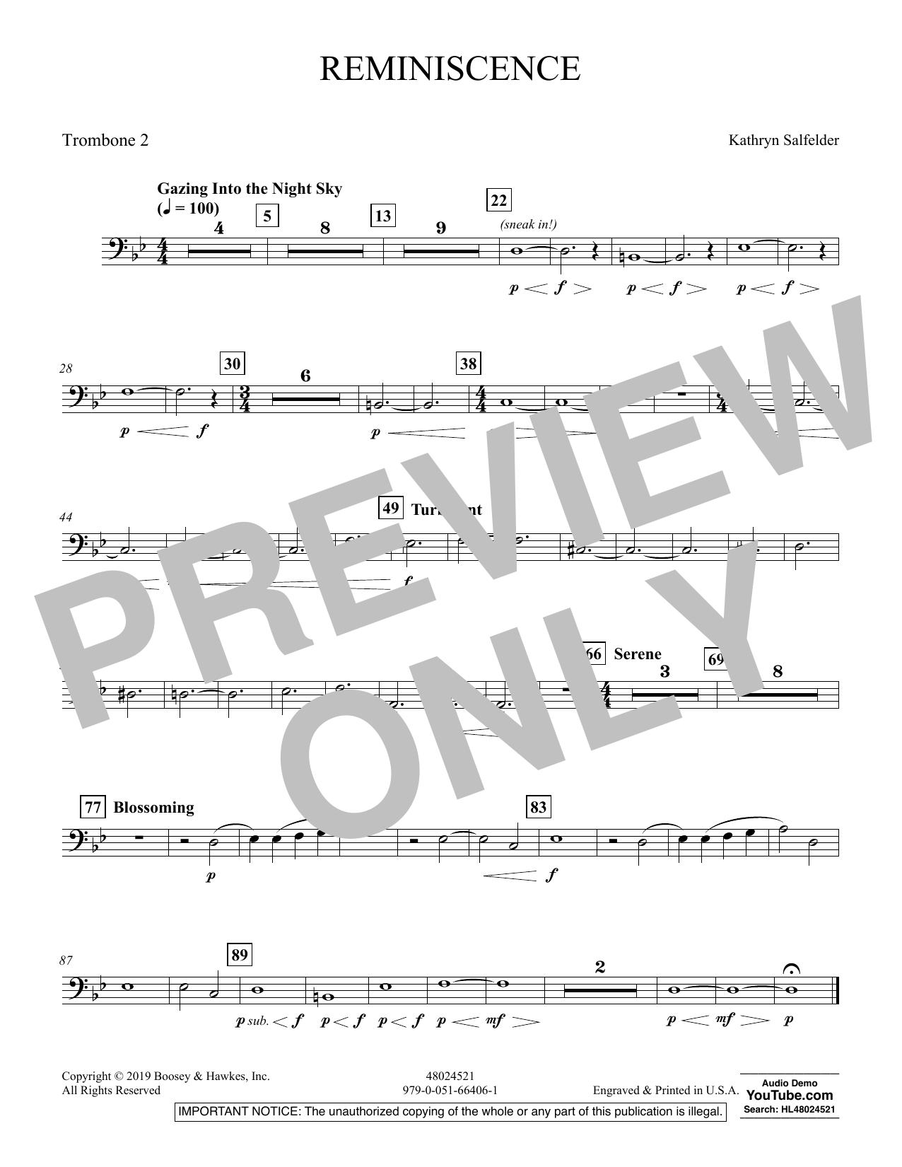 Reminiscence - Trombone 2 (Concert Band)