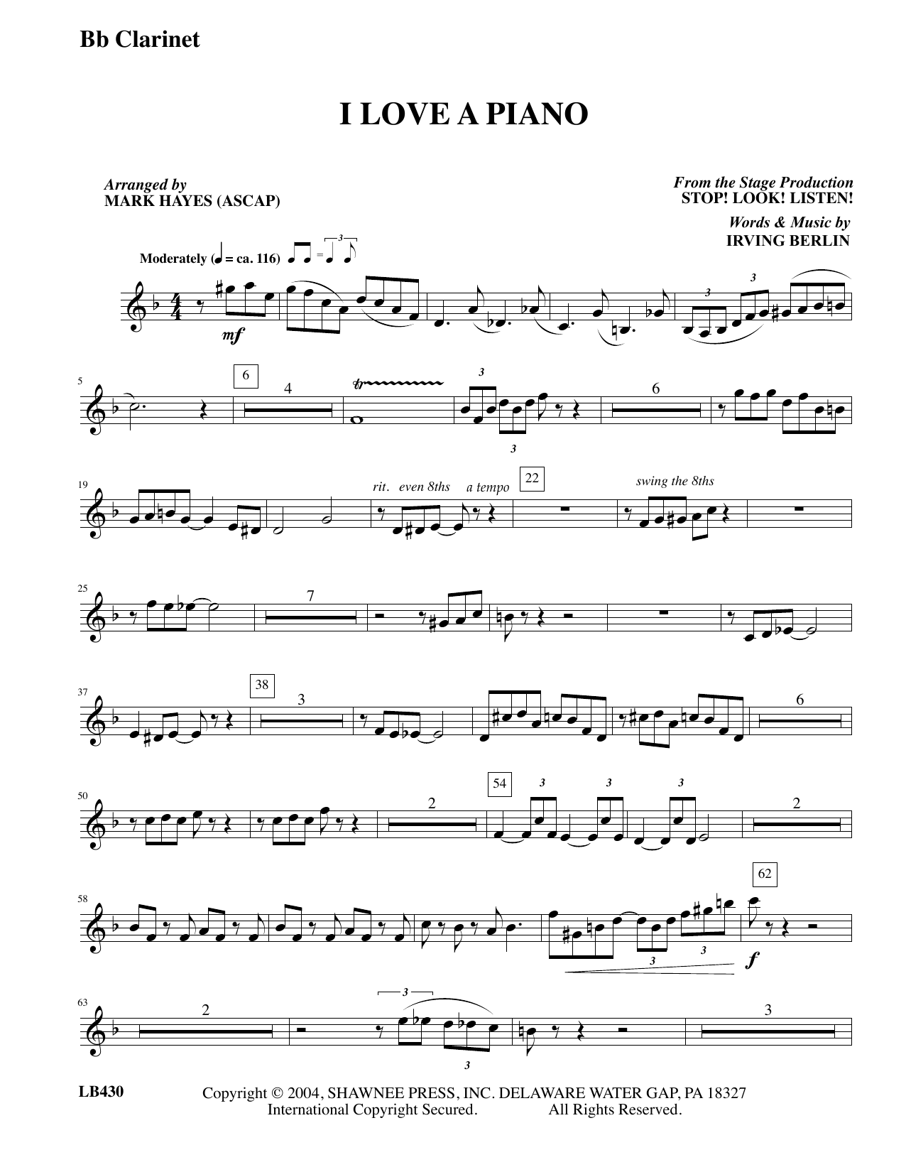 I Love a Piano (arr. Mark Hayes) - Clarinet (Choir Instrumental Pak)