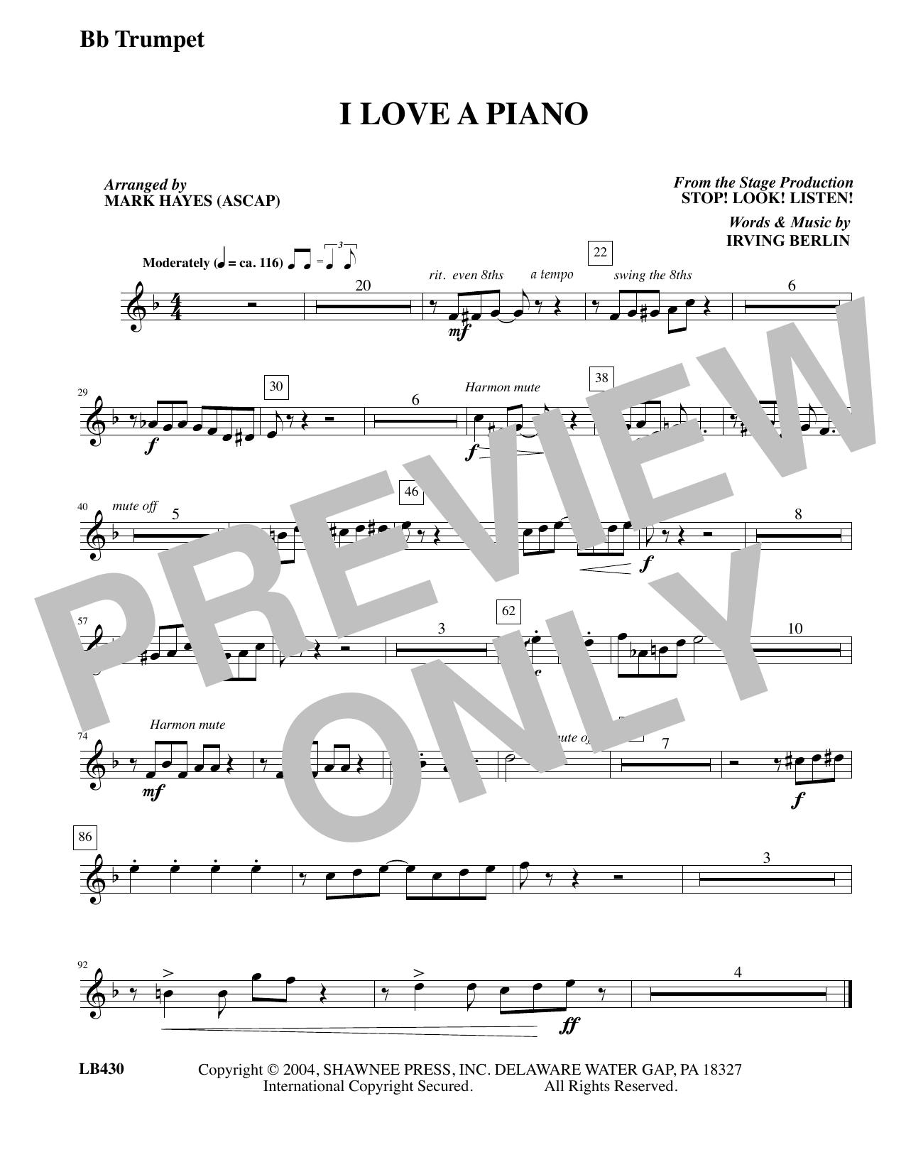I Love a Piano (arr. Mark Hayes) - Trumpet (Choir Instrumental Pak)