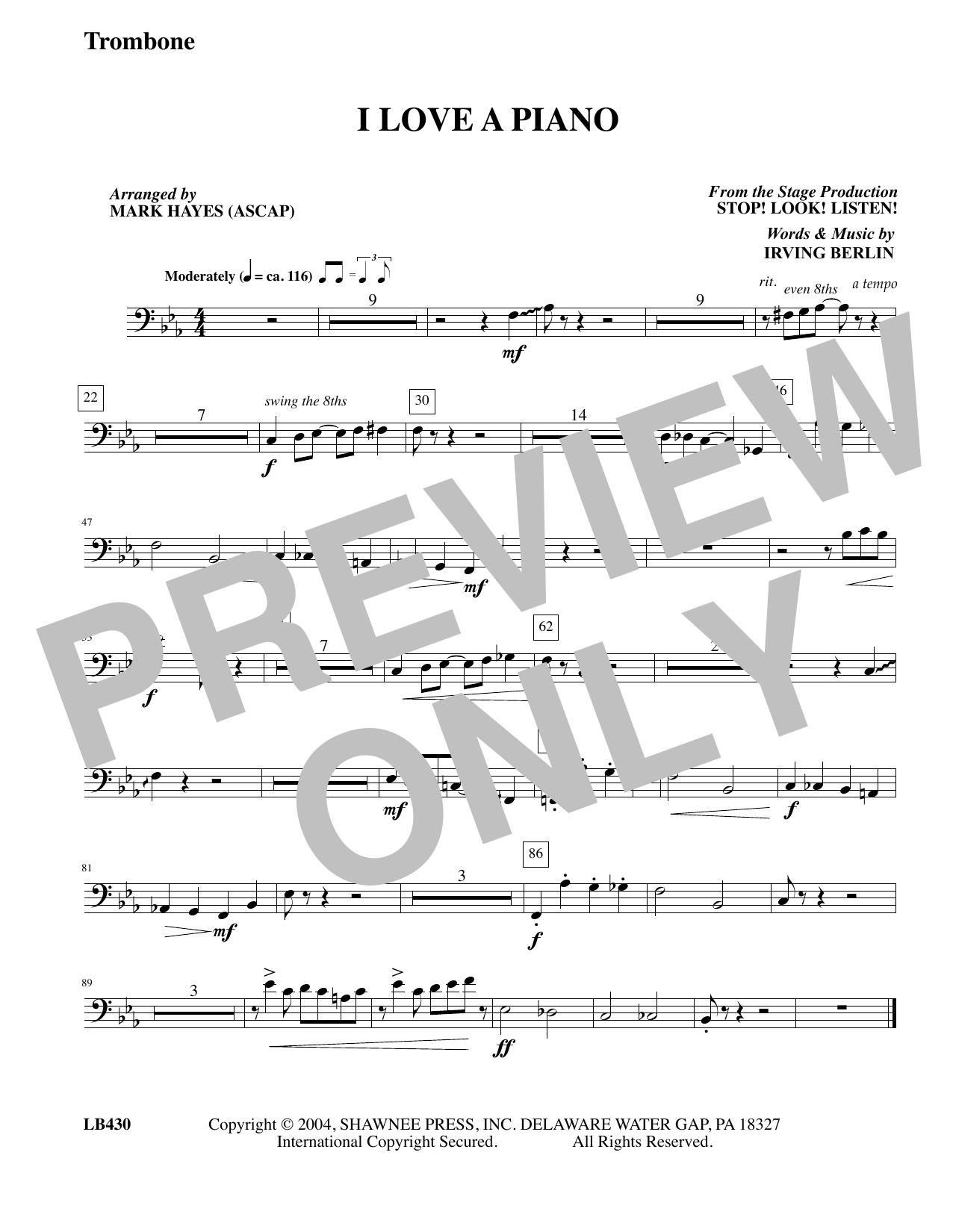 I Love a Piano (arr. Mark Hayes) - Trombone (Choir Instrumental Pak)
