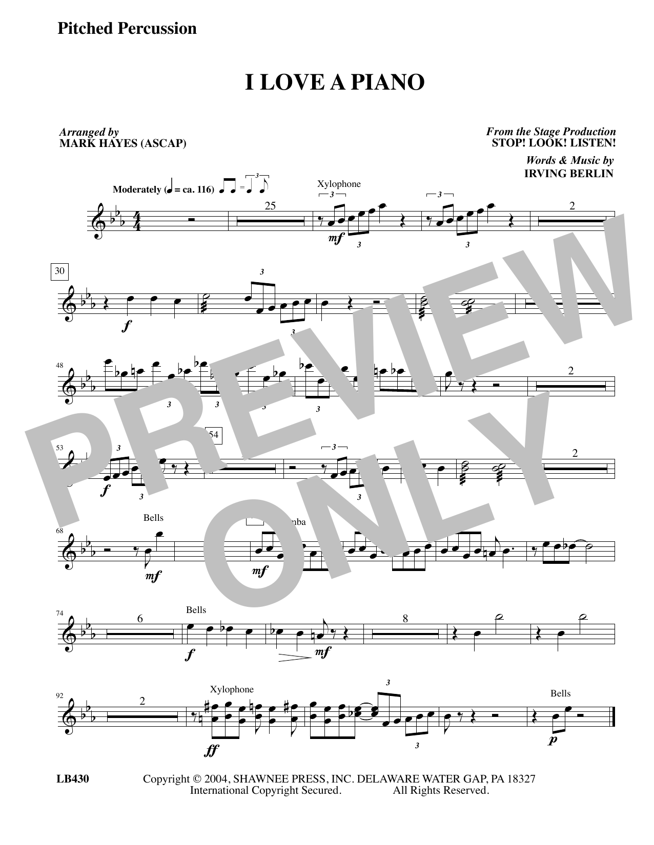 I Love a Piano (arr. Mark Hayes) - Pitched Percussion (Choir Instrumental Pak)