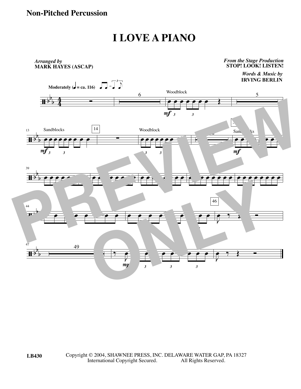 I Love a Piano (arr. Mark Hayes) - Un-pitched Percussion (Choir Instrumental Pak)