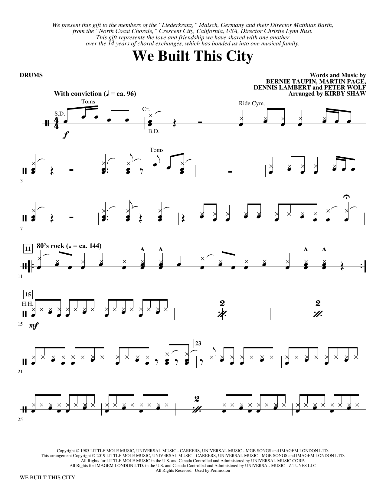 We Built This City (arr. Kirby Shaw) - Drums (Choir Instrumental Pak)