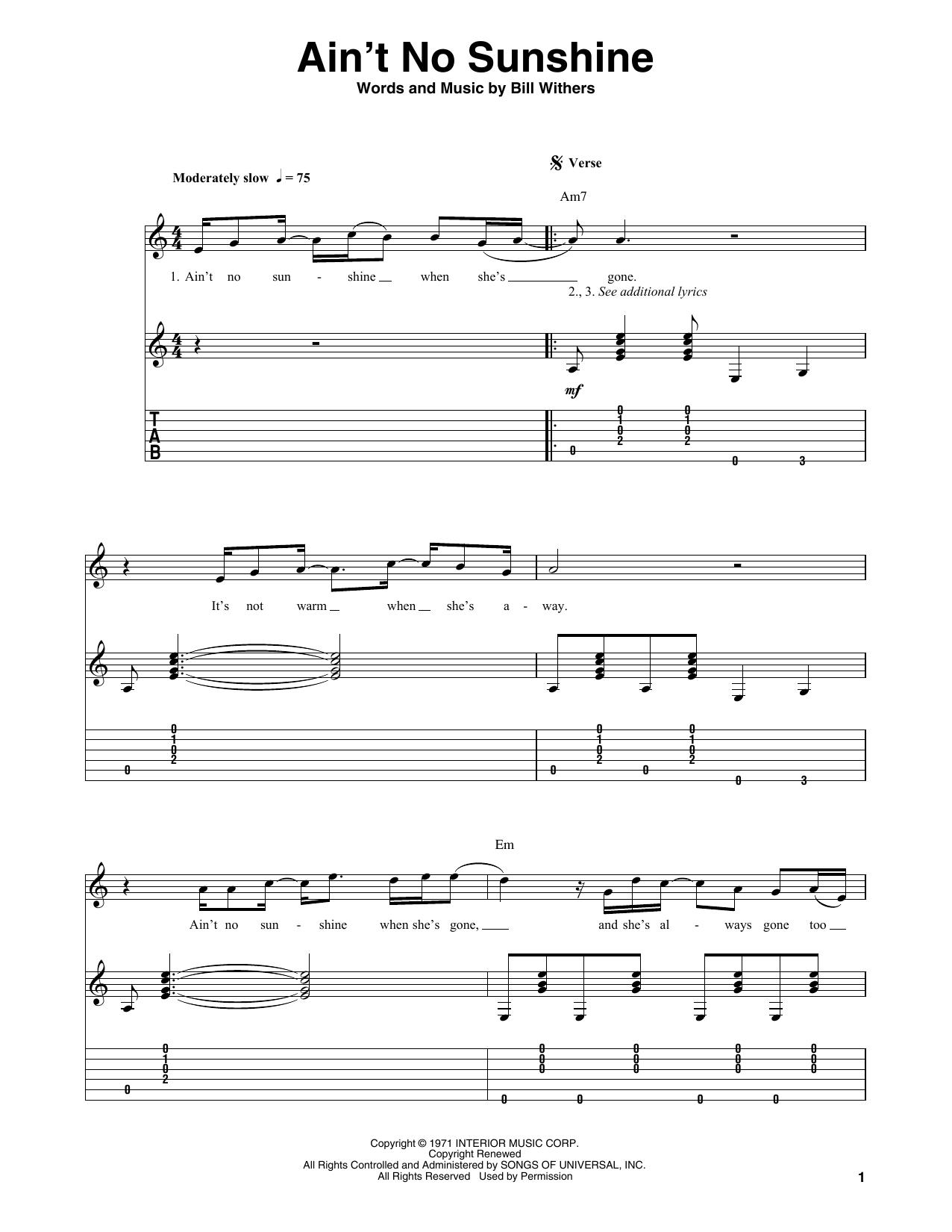 Ain't No Sunshine (Guitar Tab (Single Guitar))