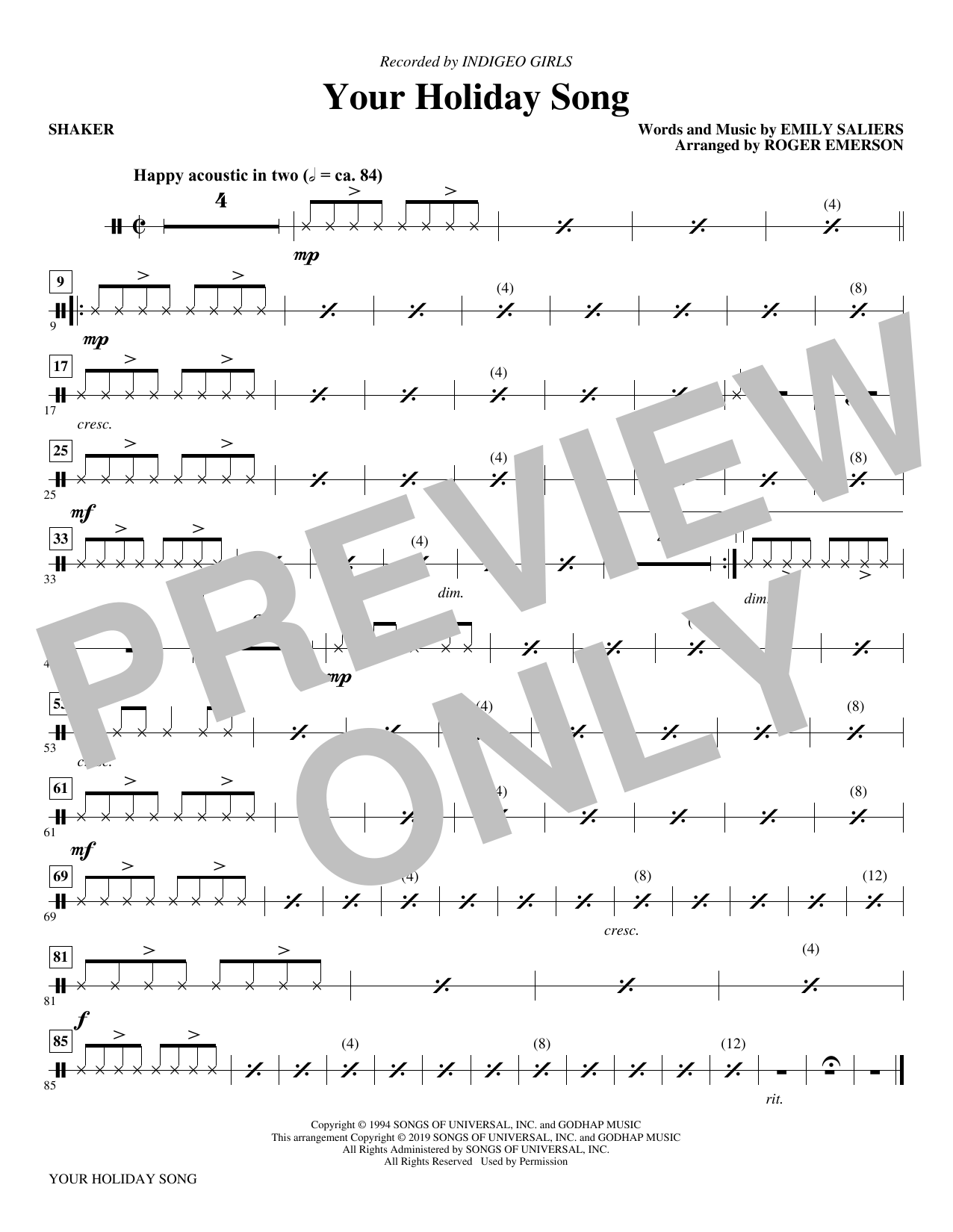 Your Holiday Song (arr. Roger Emerson) - Shaker (Choir Instrumental Pak)