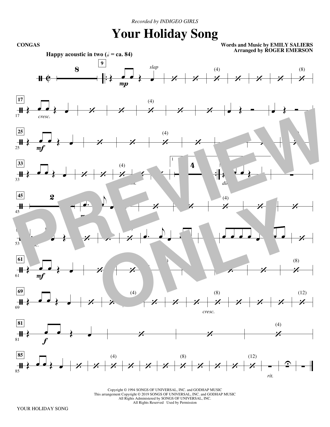 Your Holiday Song (arr. Roger Emerson) - Congas (Choir Instrumental Pak)