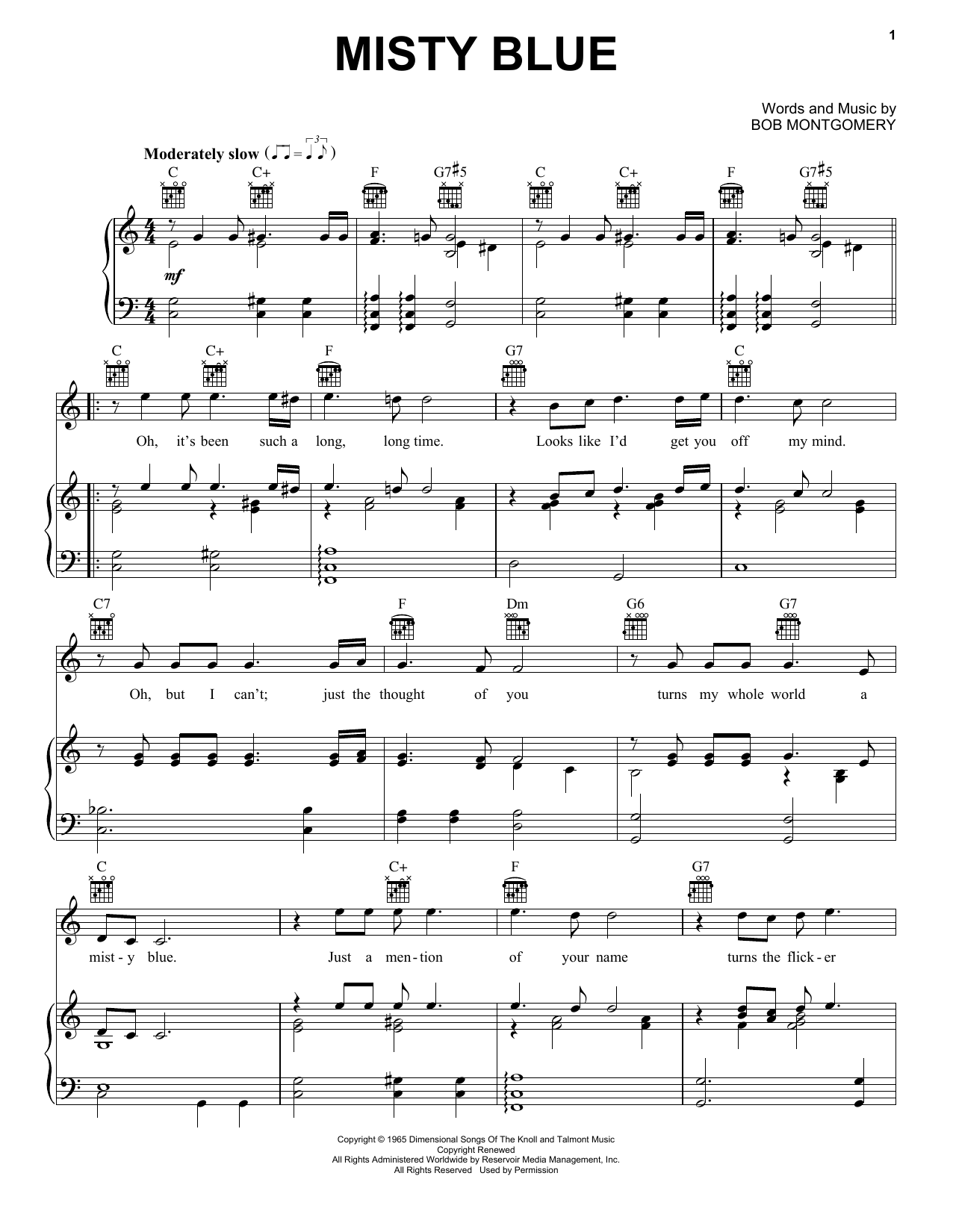 Misty Blue (Piano, Vocal & Guitar (Right-Hand Melody))